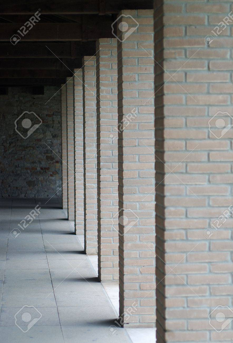 Modern Columns modern columns of bricks stock photo, picture and royalty free