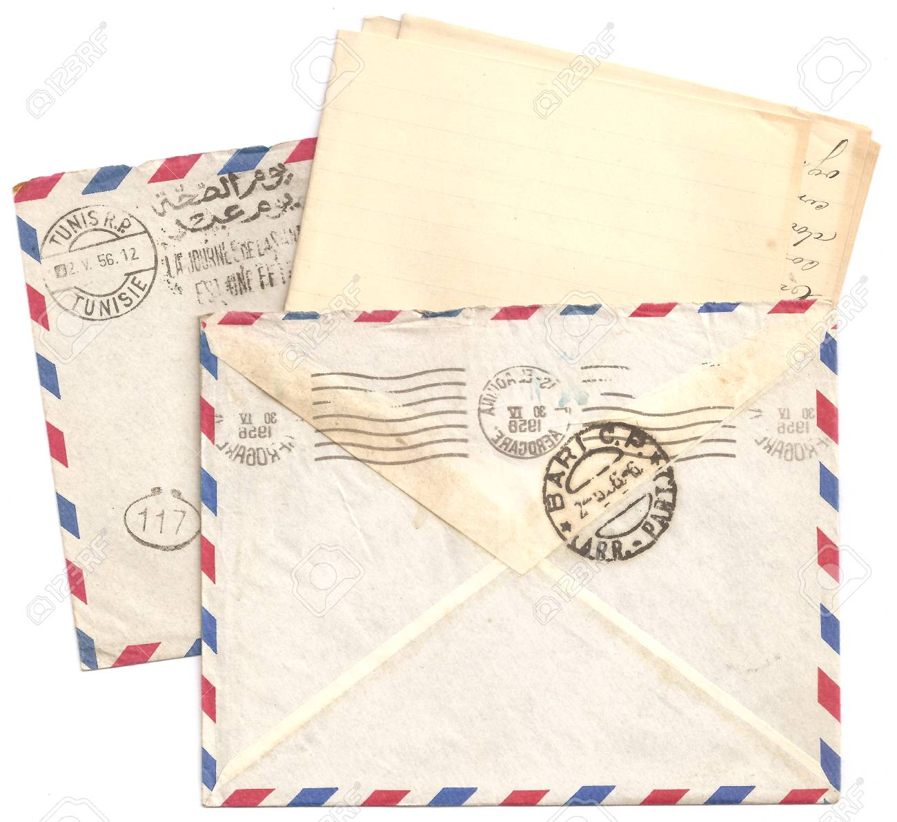 antique old air mail letter envelopes and with postmarks postage stamp front and back side