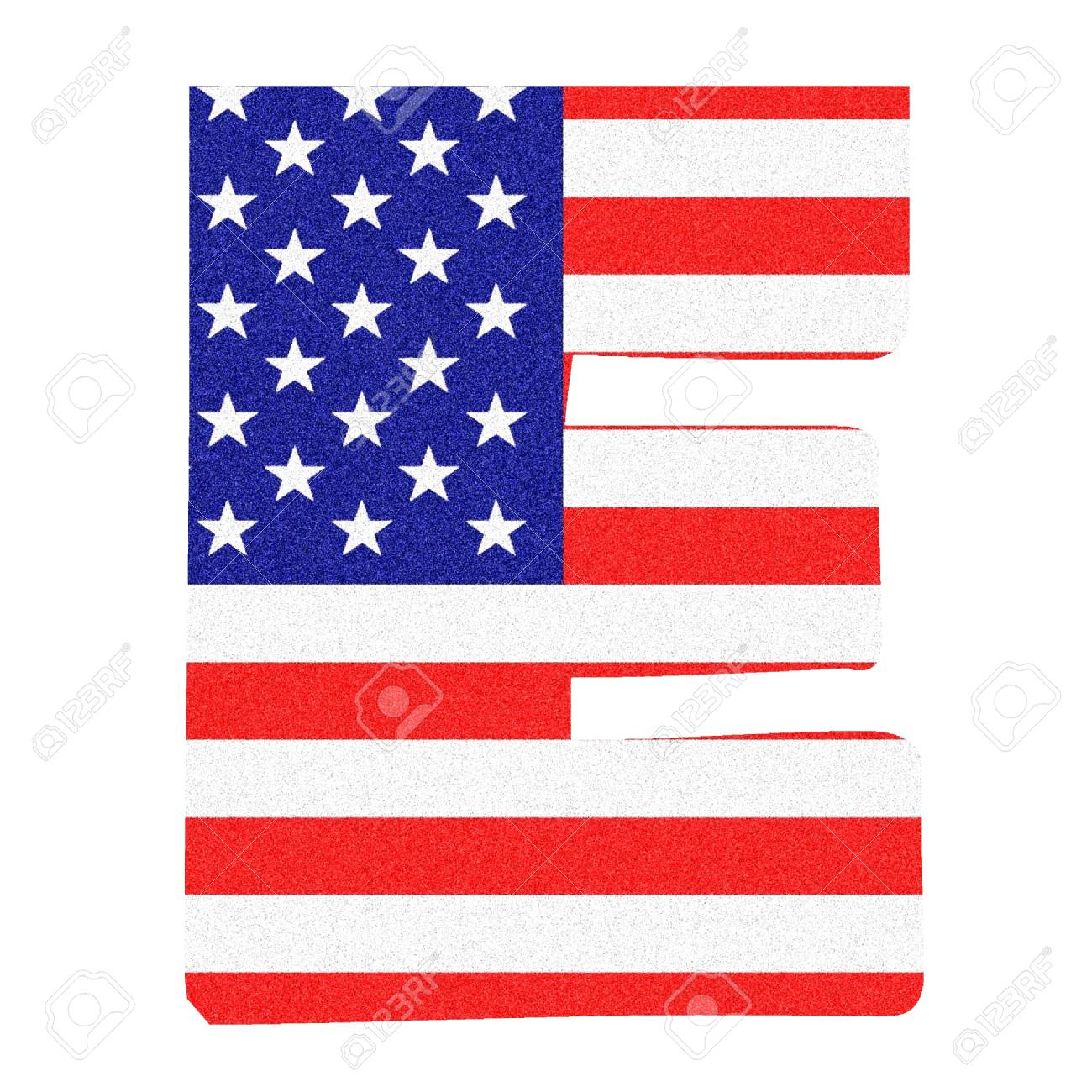 Letter Of The Alphabet On The United States Of America Flag Style With Black Marbled Glitter