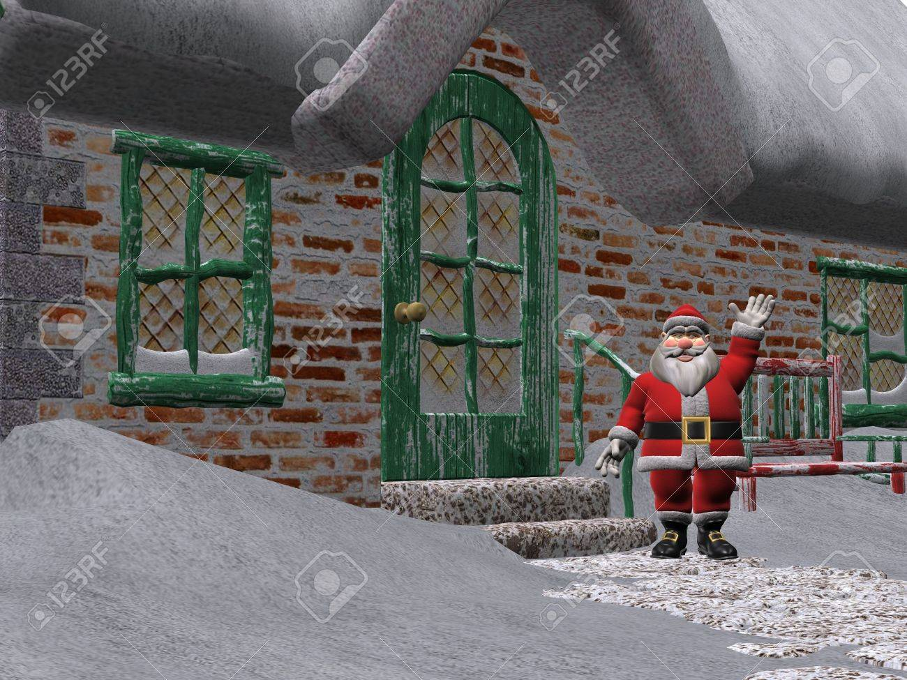 3D Rendered Santa Claus Outside His House Stock Photo   6073222
