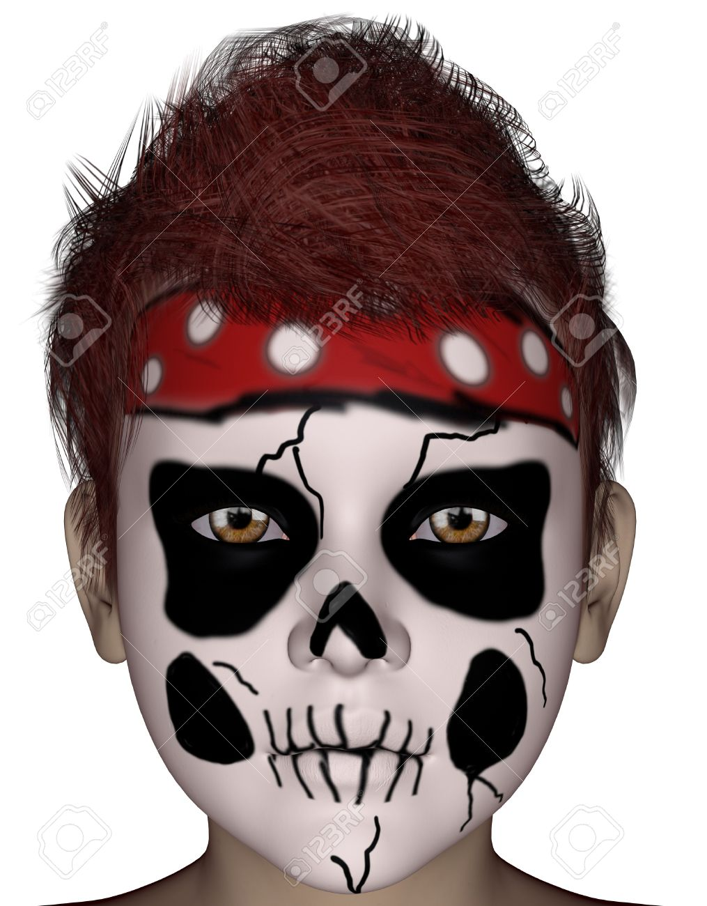 3D Rendered Halloween Painting Face Mask On Young Boy Face On ...
