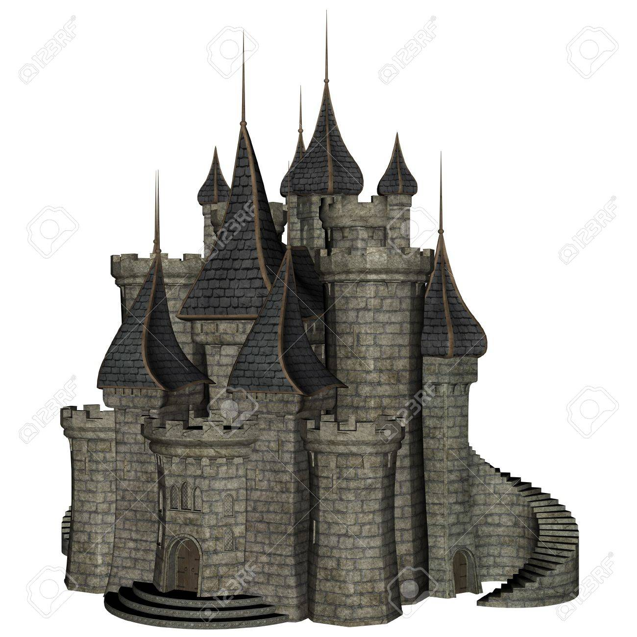 3D rendered illustration of fantasy castle on white background isolated Stock Illustration - 19145099