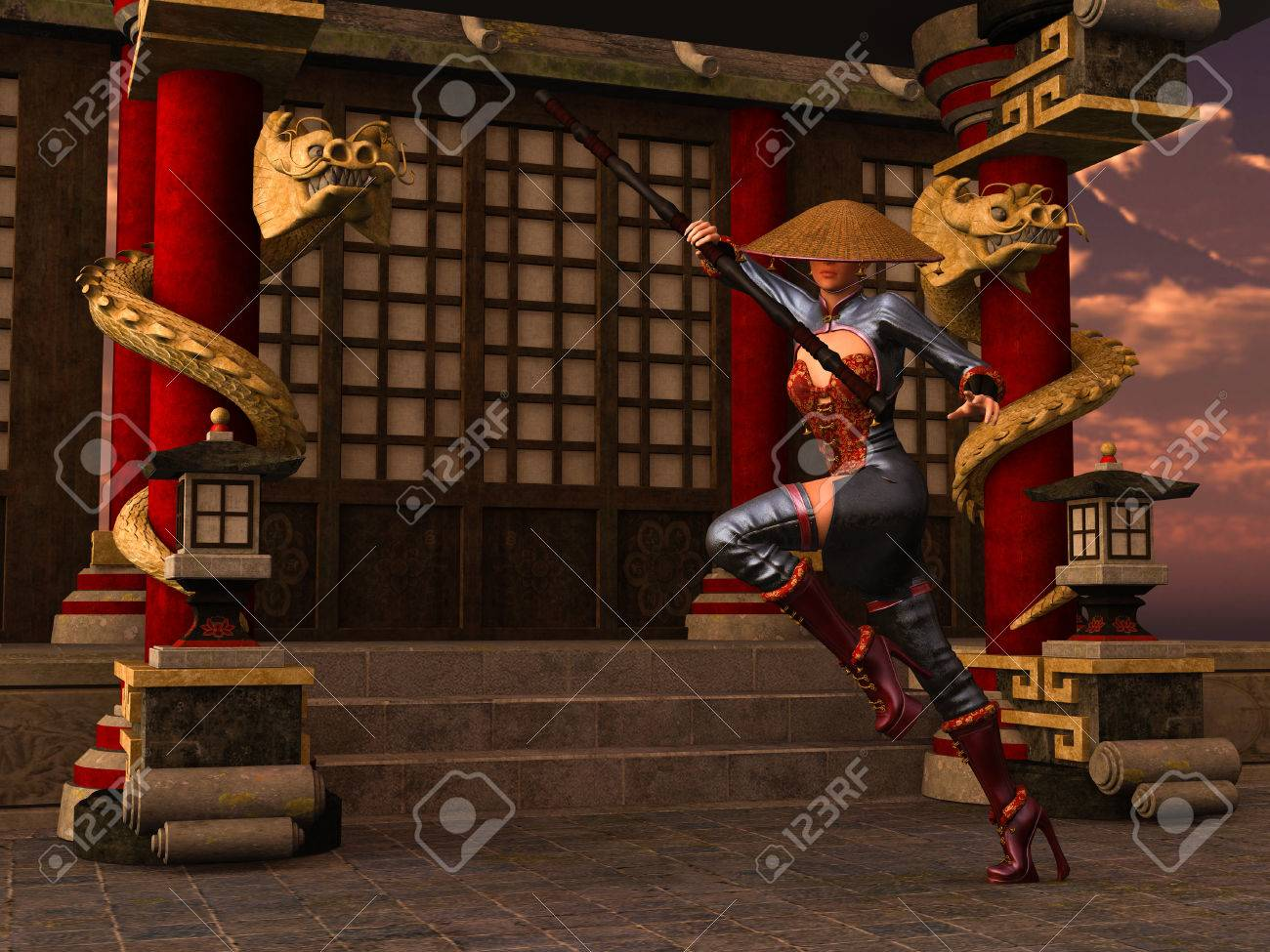 3D rendered Kung Fu woman warrior in action pose with bo staff