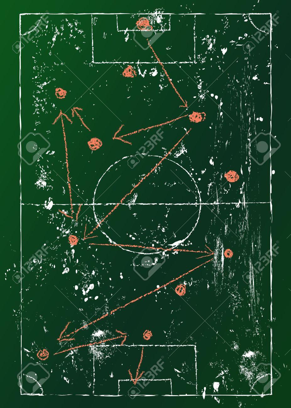 Soccer Tactics Diagram Grungy Royalty Free Cliparts Vectors And