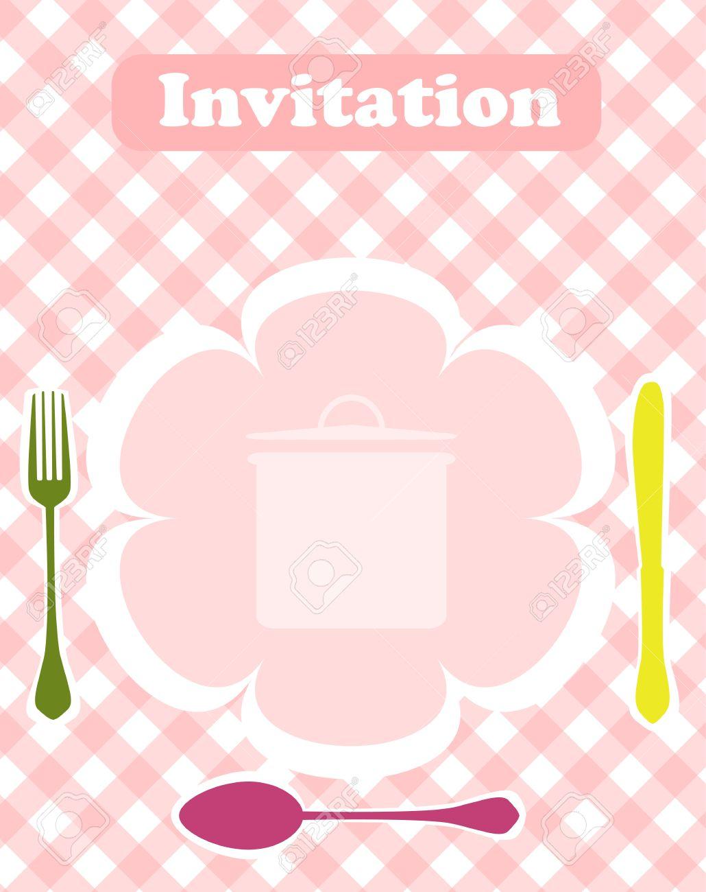 Tarjeta De Invitación Cena Plantilla De Diseño Vector