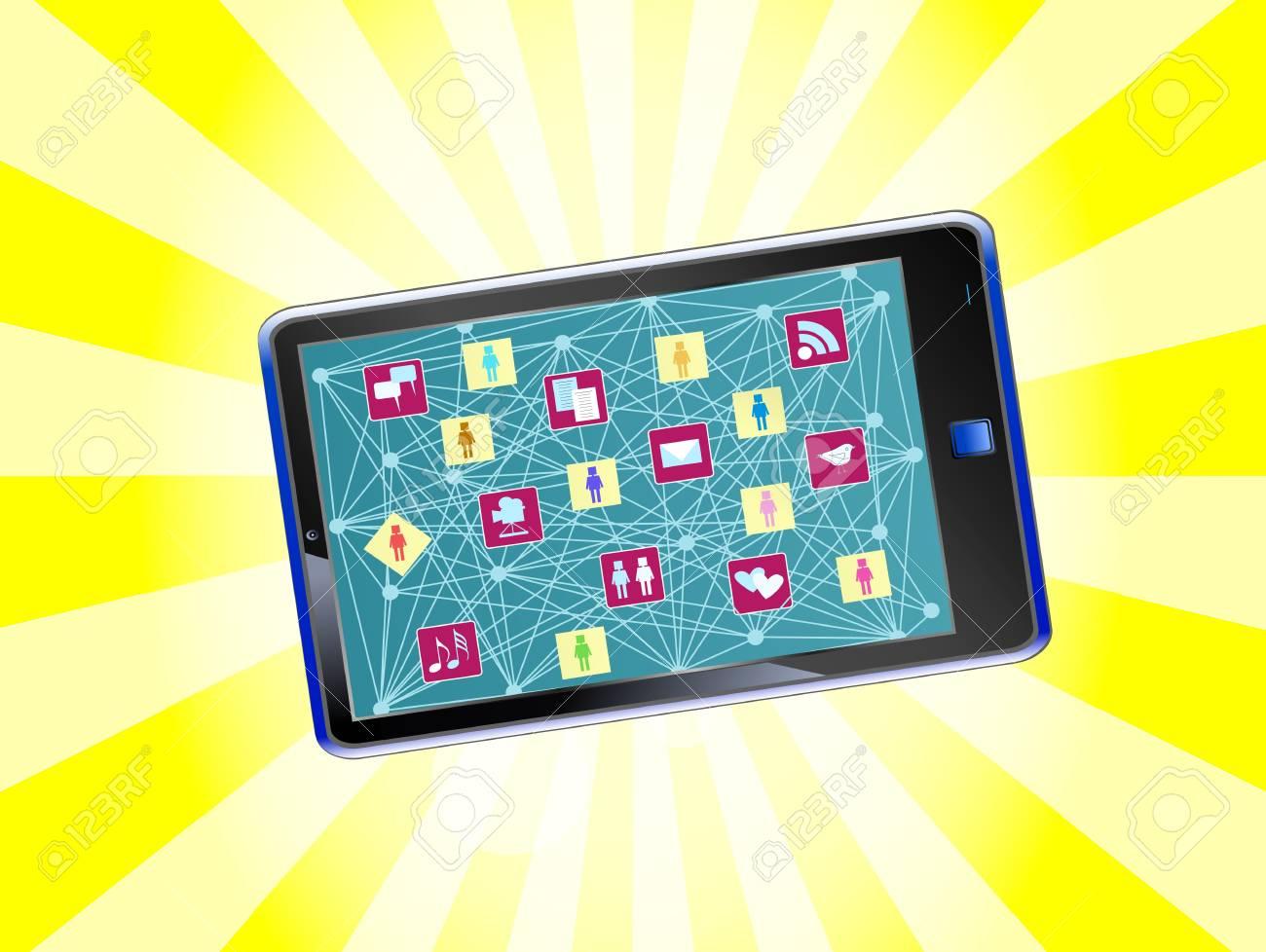 smart phone social media and social network concept Stock Vector - 13981495