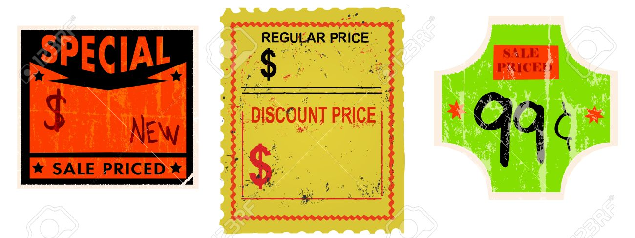 Set of vintage price stickers adhesive labels stock vector 13981504