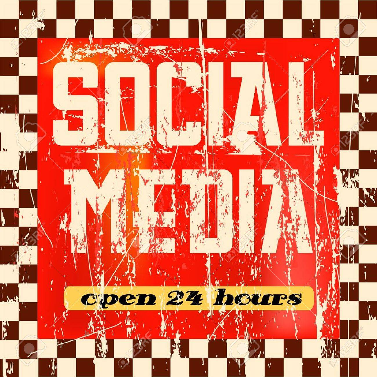 vintage social media sign Stock Vector - 14691333