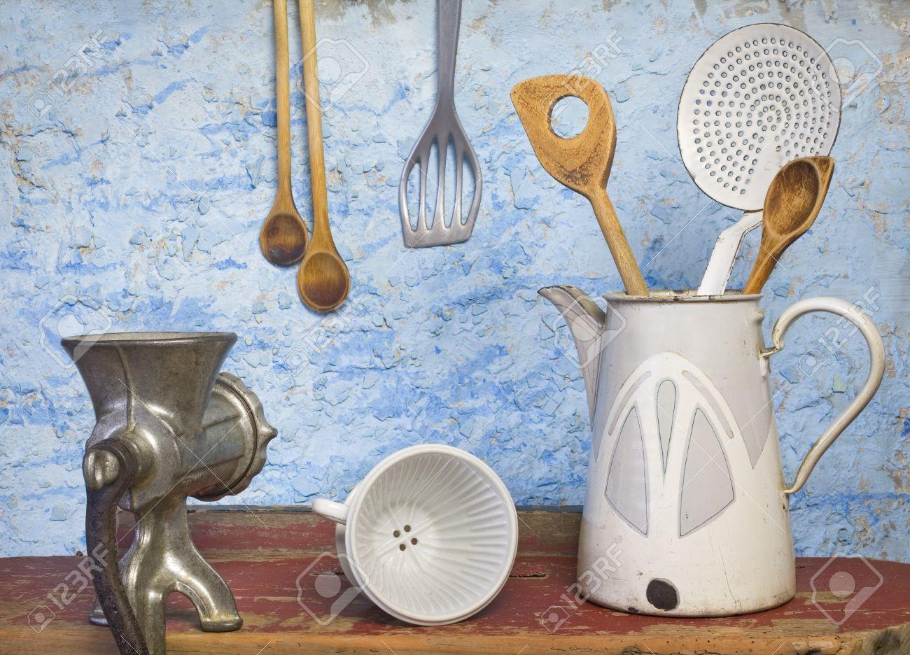 Accesorios De Cocina Vintage. Tela Cocina Vintage Utensilios Tela ...