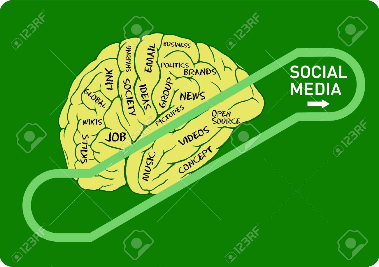 social media concept: human brain on an up escalator Stock Vector - 18408413