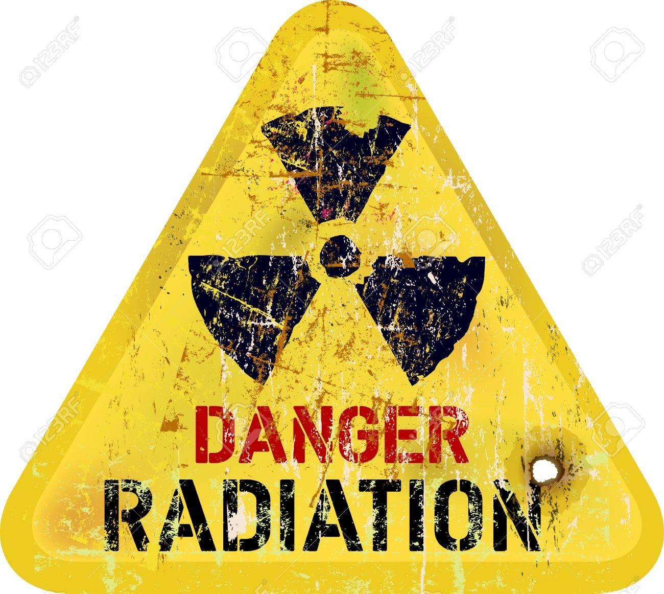 Radiation Warning Weathered Sign Dangerousness Of Atomic Energy