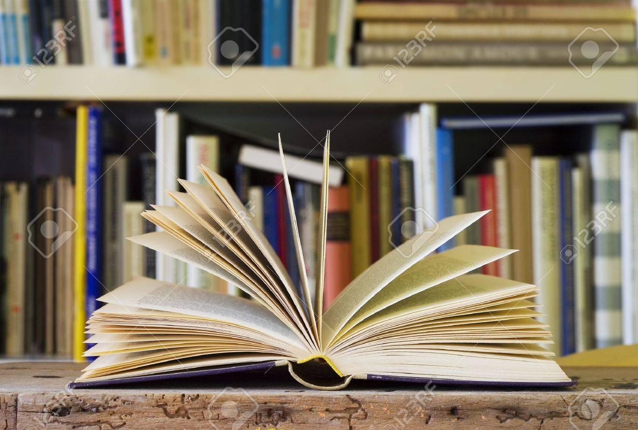 Livre Ouvert Bibliotheque Dans Le Dos Avaler Profondeur De Champ