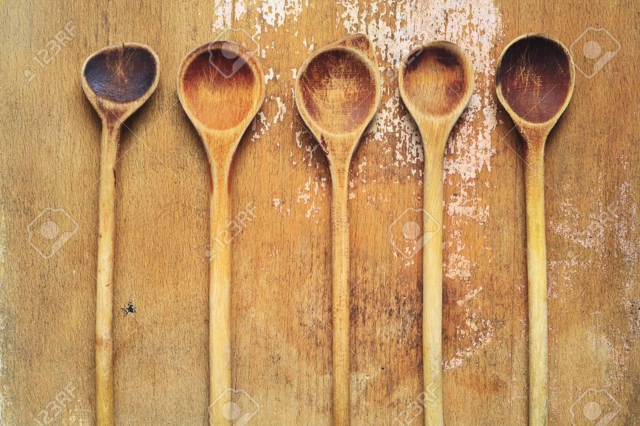 Vintage Kitchen Utensils Wooden Spoons Cooking Concept