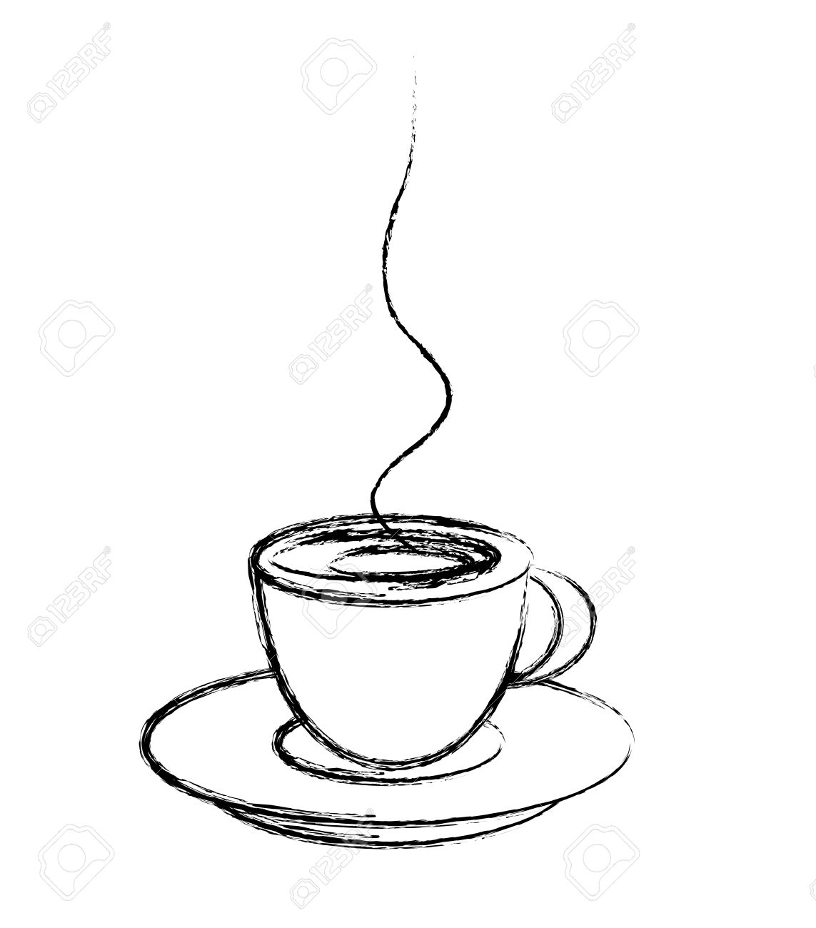 Coffee cup sketch - Stylized Cup Of Coffee Drawing Style Vector Stock Vector 23650447