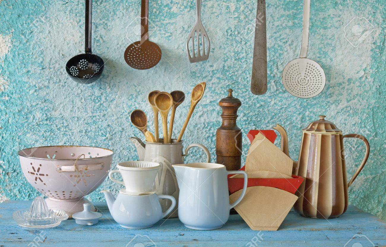 Charming Collection Of Vintage Kitchenware, Blue Wall Stock Photo   25880361