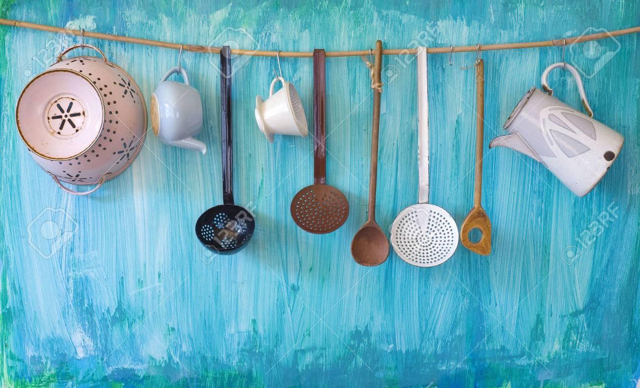 vintage kitchen utenslis, cooking concept, free copy space - 29123014