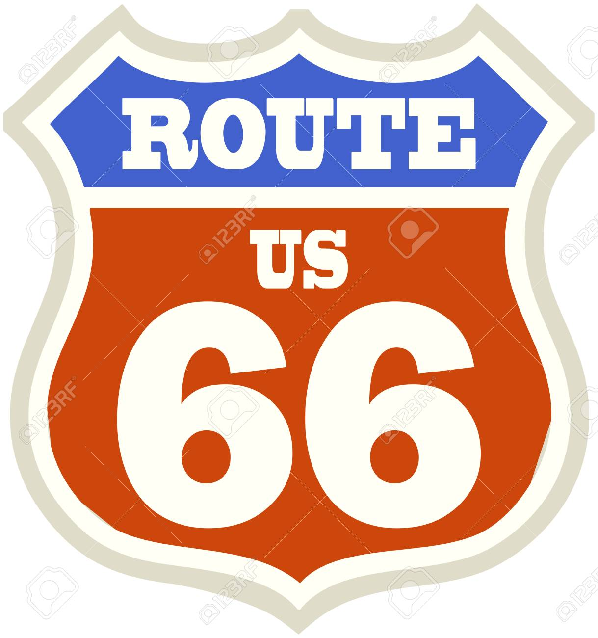 vintage route 66 road sign, retro style, vector illustration - 30323223