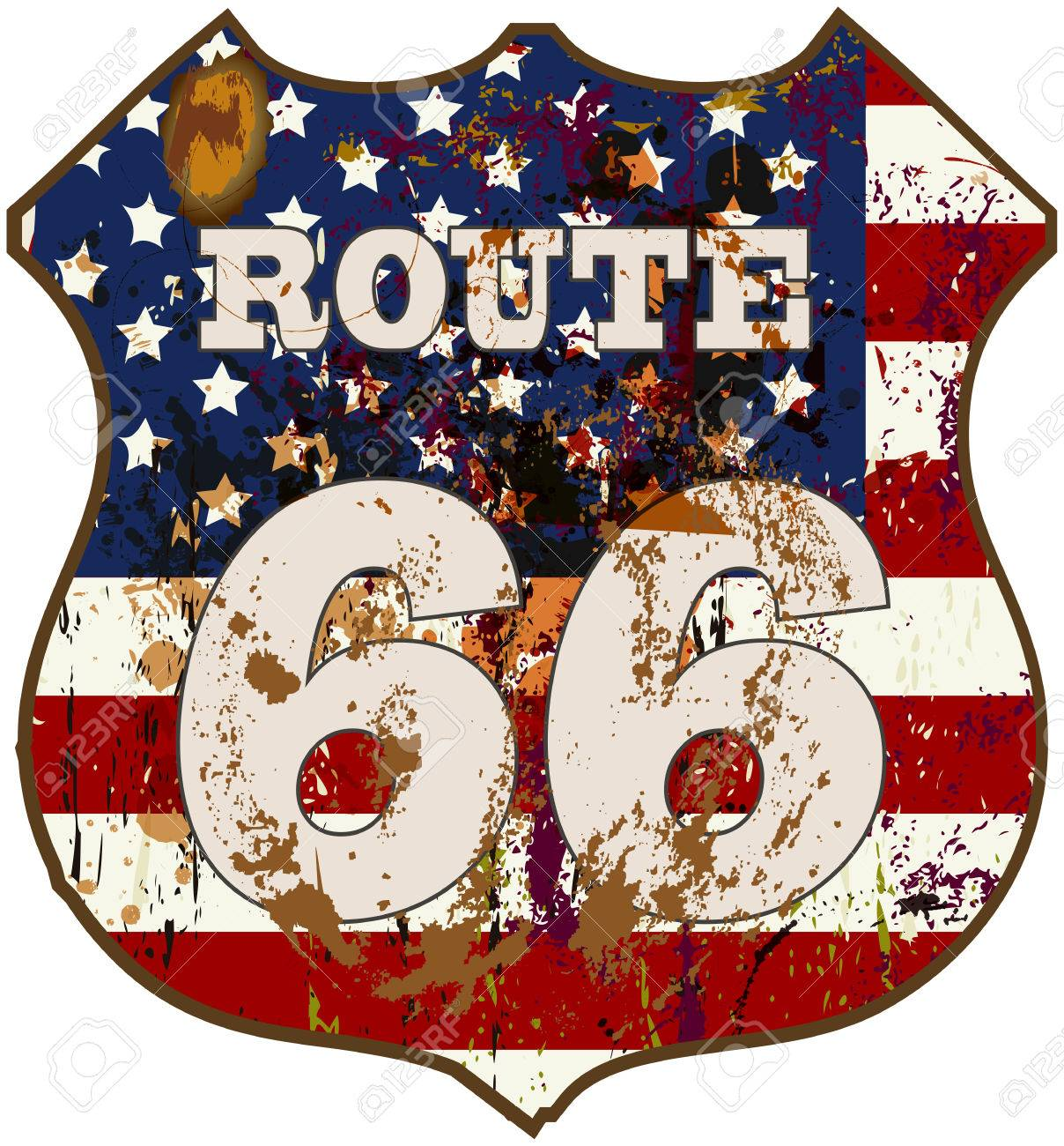 vintage route 66 road sign, retro style, vector illustration - 31922206