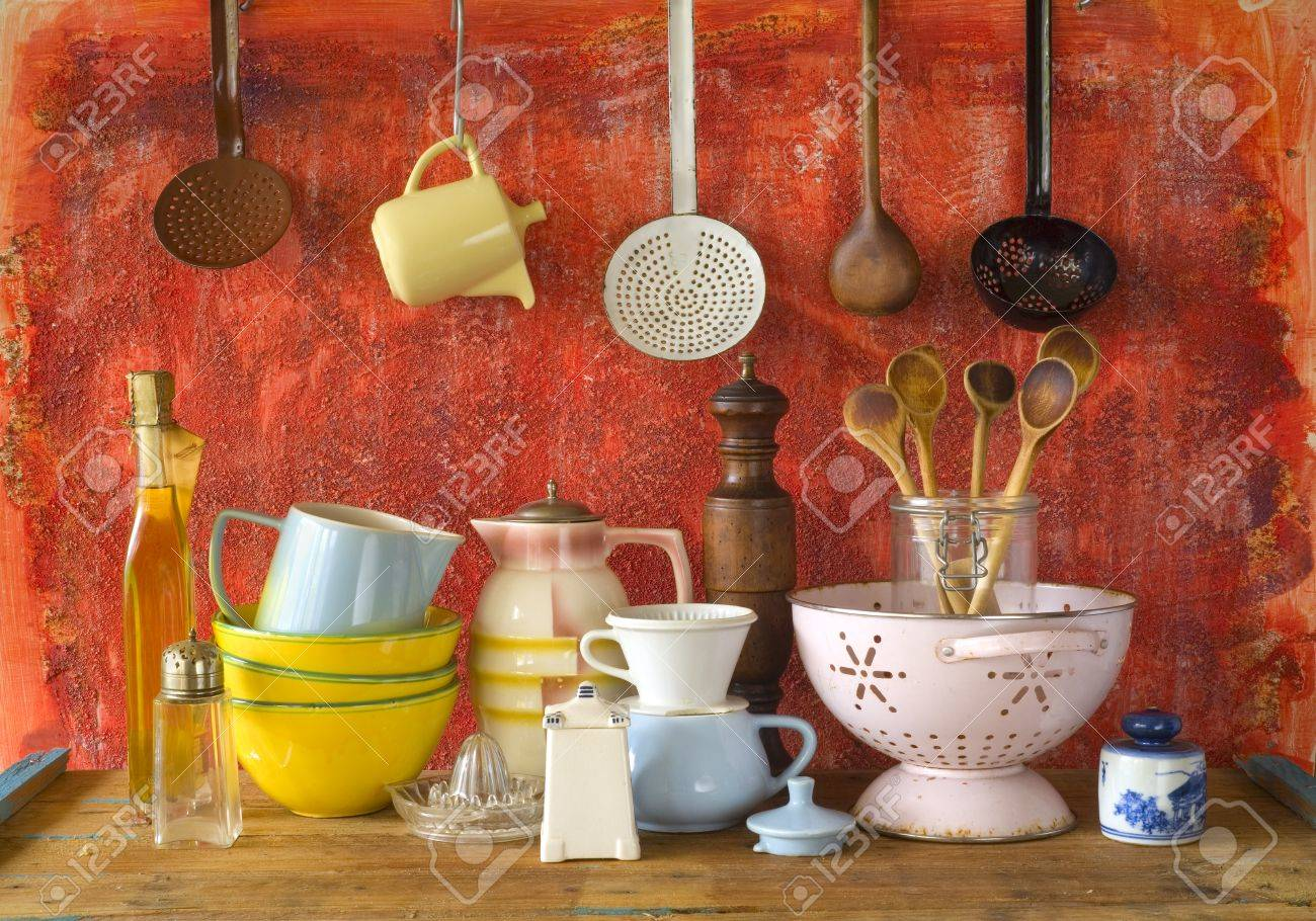 Collection Of Vintage Kitchenware, Red Background Stock Photo   33203097