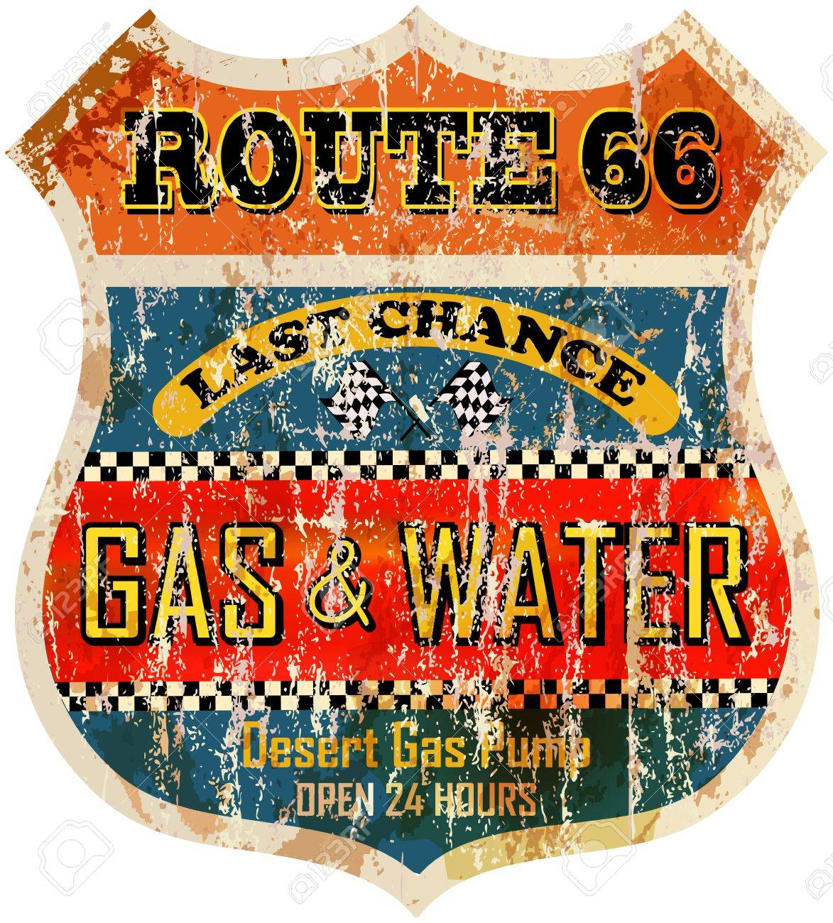 route sixty six gas station sign, retro style illustration - 33944771
