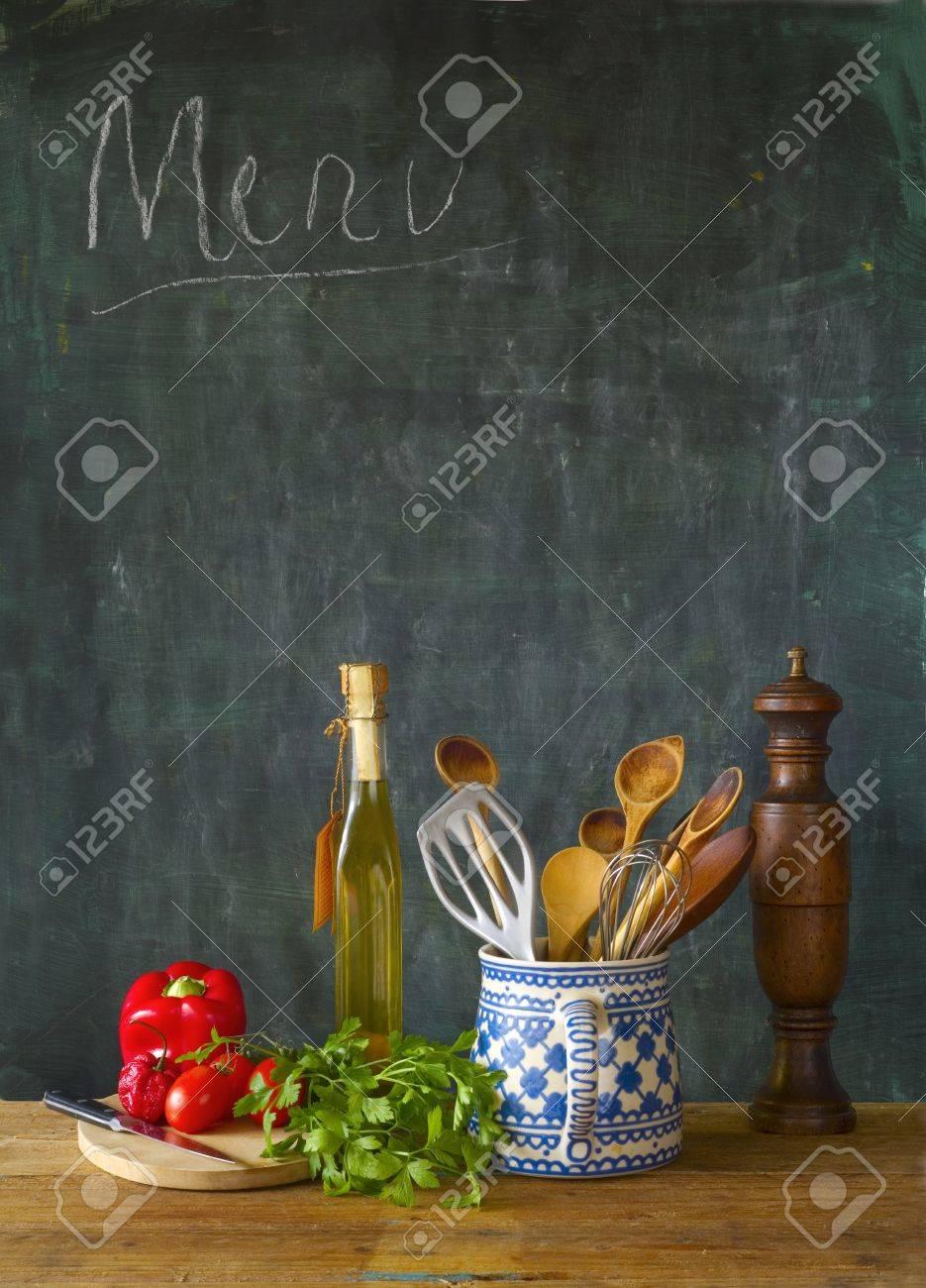 Food ingredients,kitchen utensils, black board, free copy space - 34317683