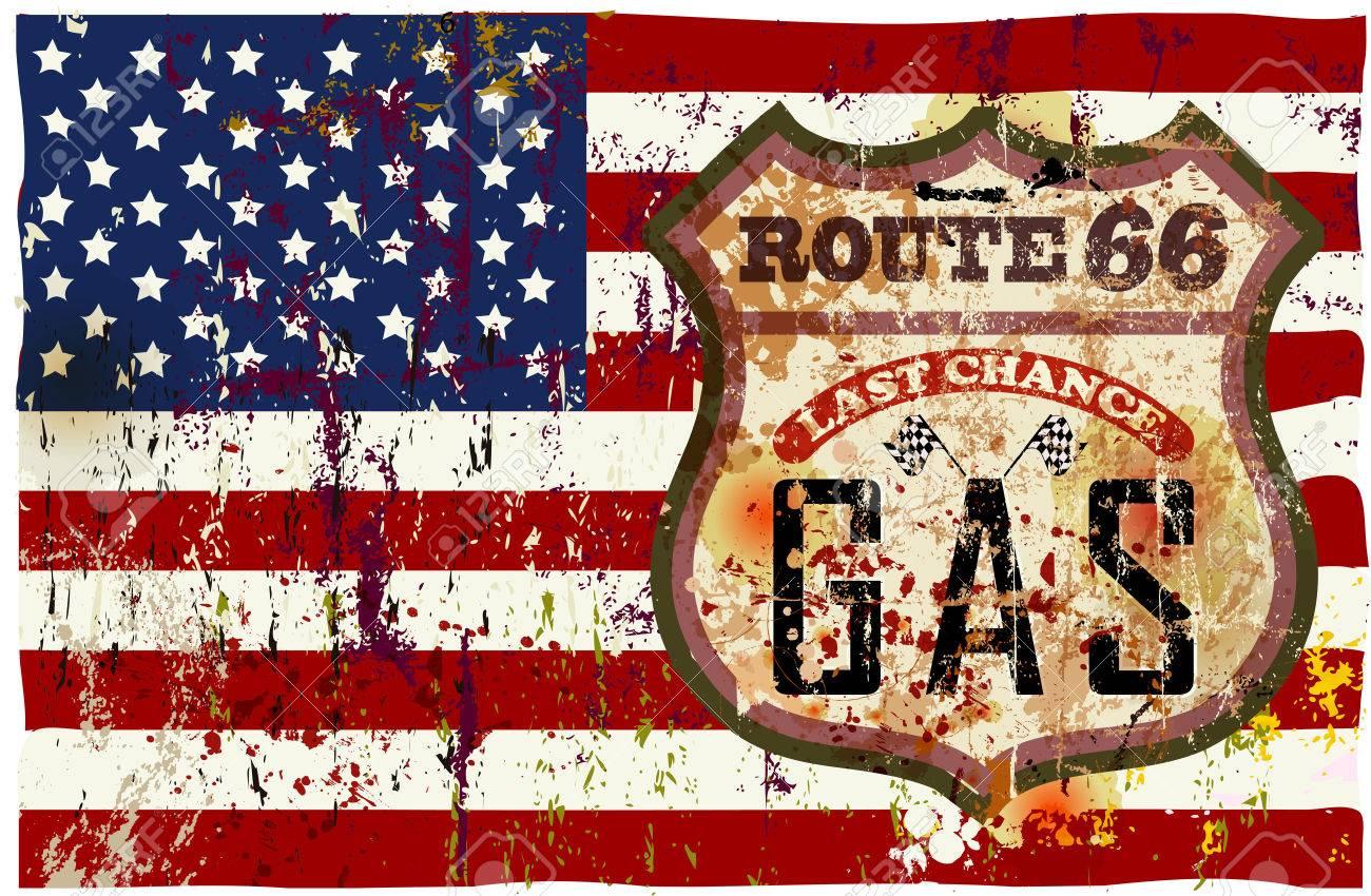 Vintage route 66 gas station sign, vector illustration - 34822614