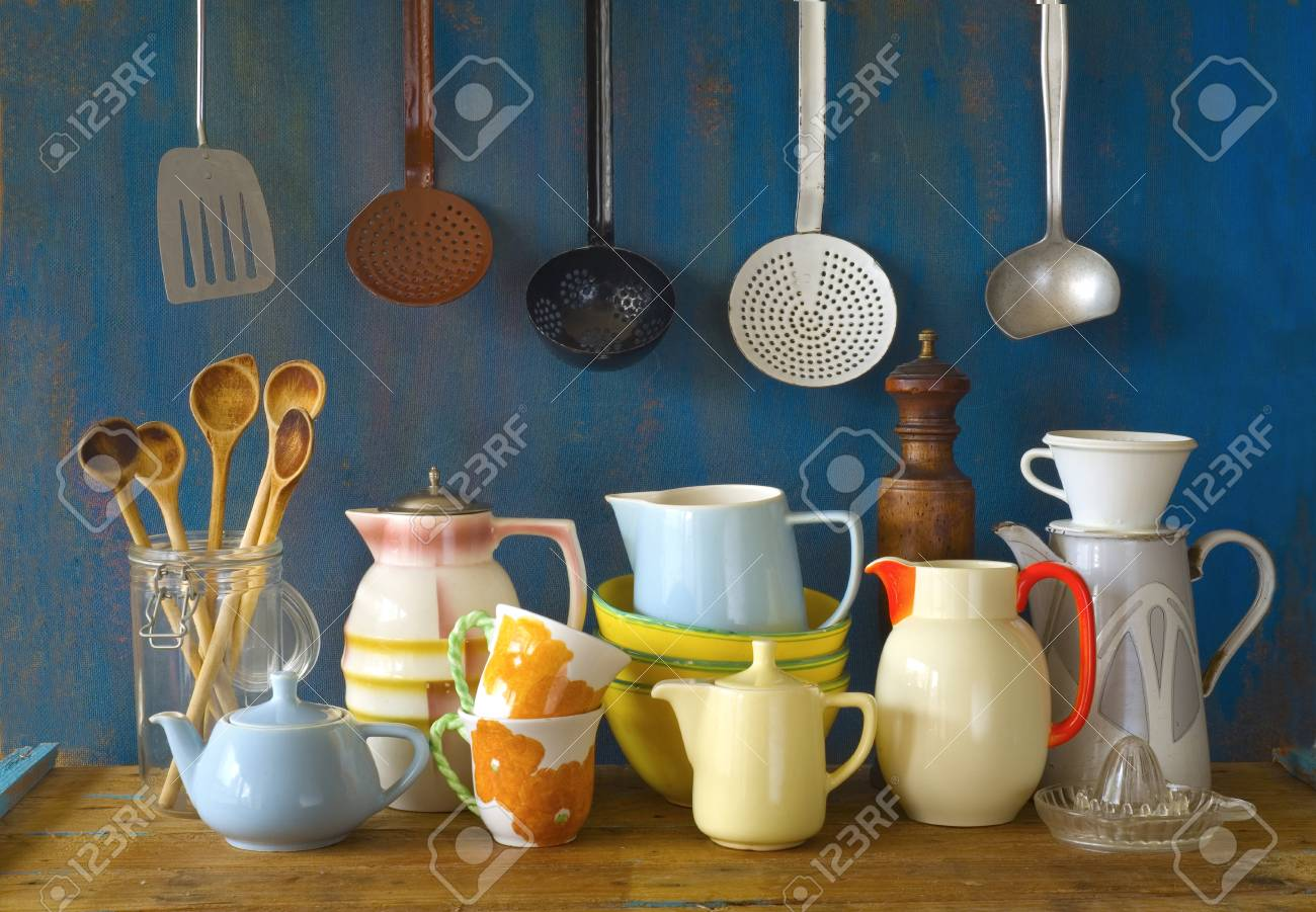 Incroyable Collection Of Vintage Kitchenware, Blue Background Stock Photo   34987754