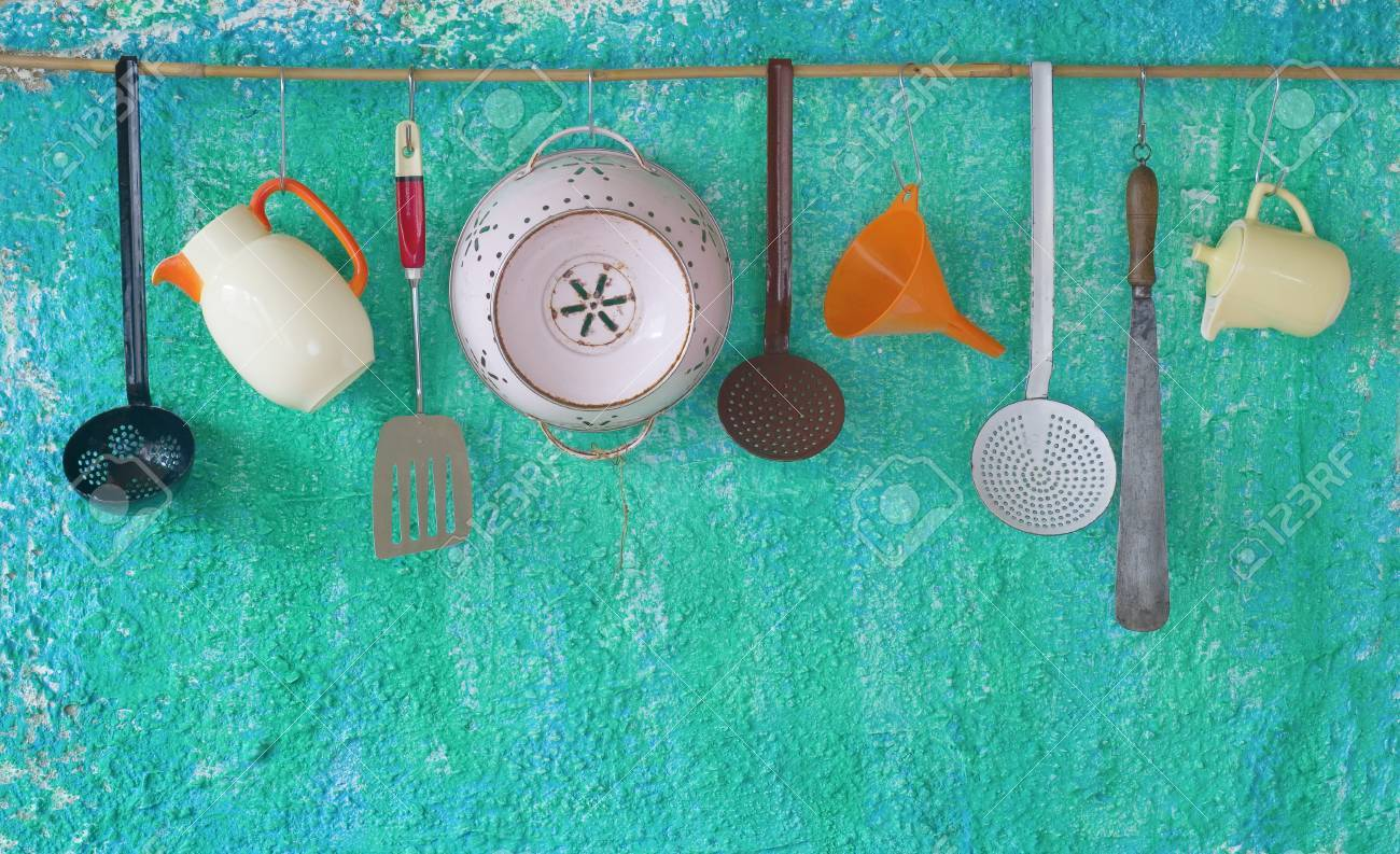 Vintage Kitchen Utensils, Hanging, Free Copy Space Stock Photo ...