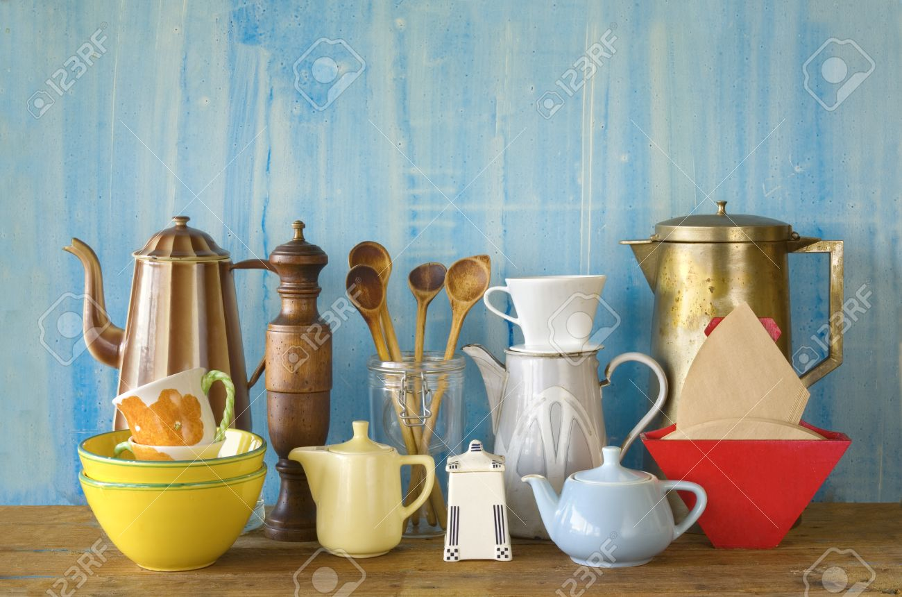 Vintage kitchenware - Various Vintage Kitchenware Free Copy Space Stock Photo 37738829