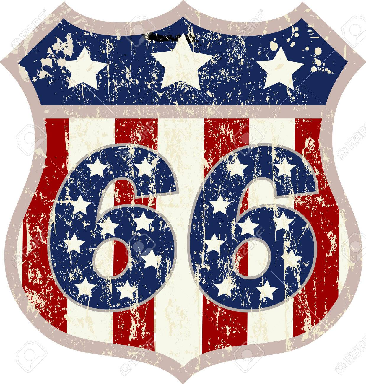 vintage route 66 road sign, retro style, vector illustration - 37825822