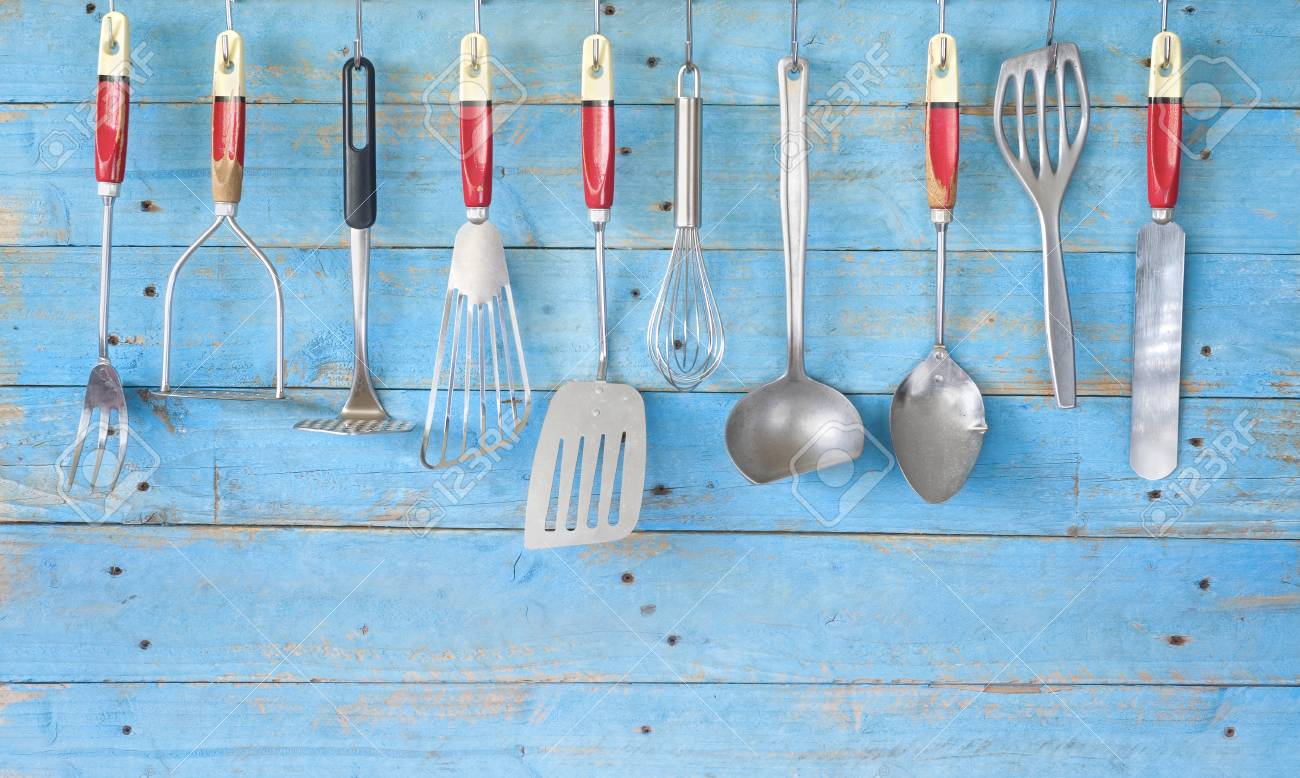 Vintage Kitchen Utensils On Blue Rustic Wall Free Copy Space