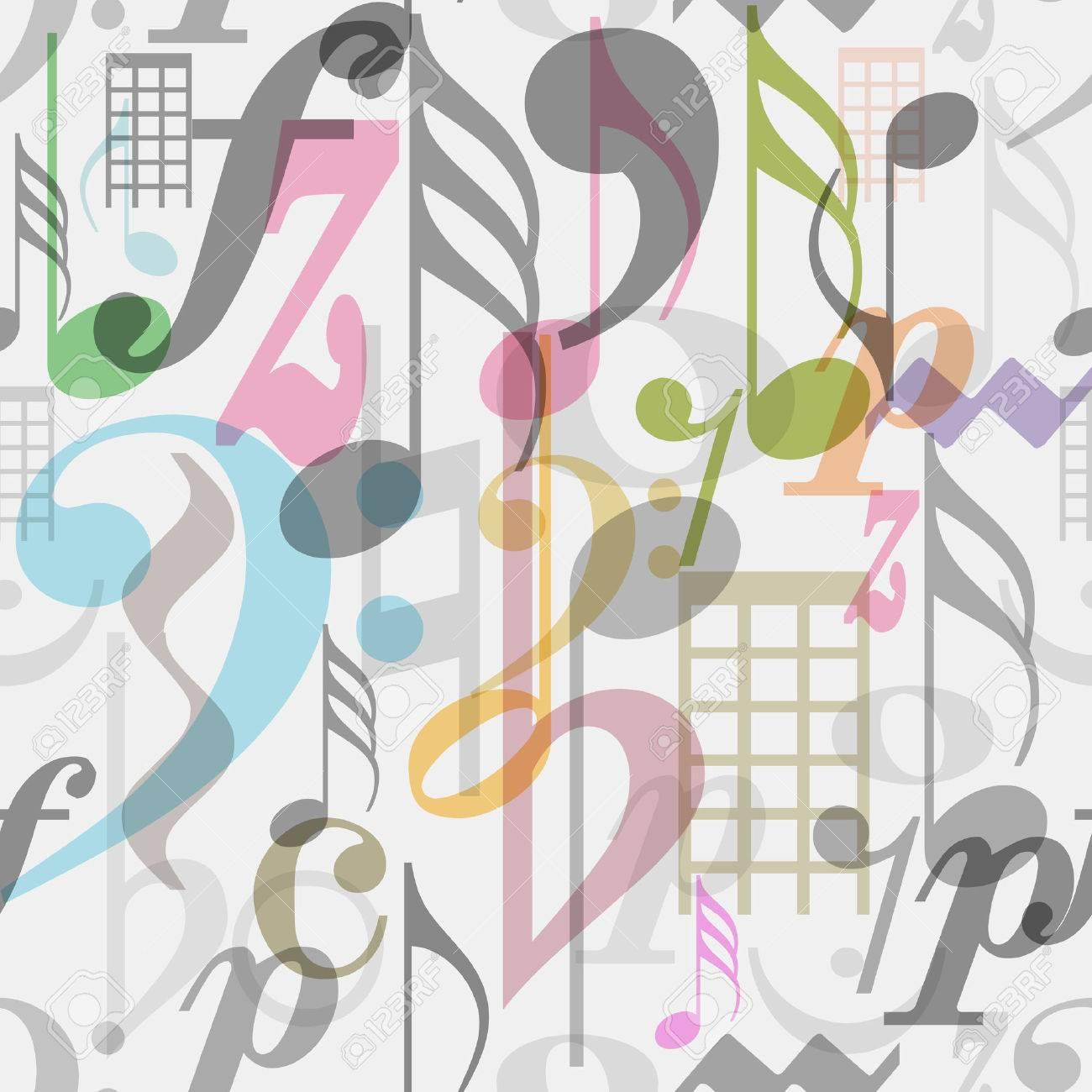 Sin Costura Patrón De Símbolos Musicales, Ilustración Vectorial ...