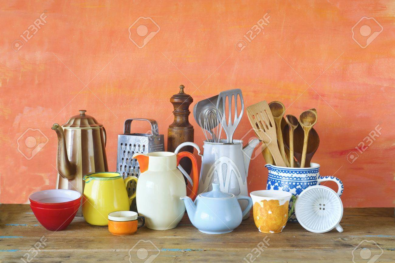 Stock Photo   Vintage Kitchen Utensils And Tableware, Cooking Concept