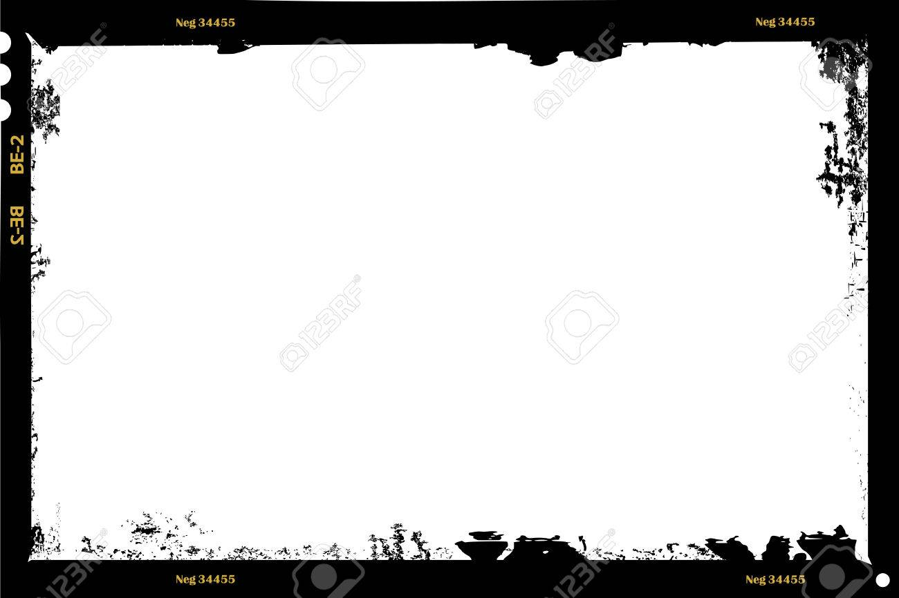 grungy large format film sheet negative, 6 x 9 centimeters, photo frame, vector - 70820758