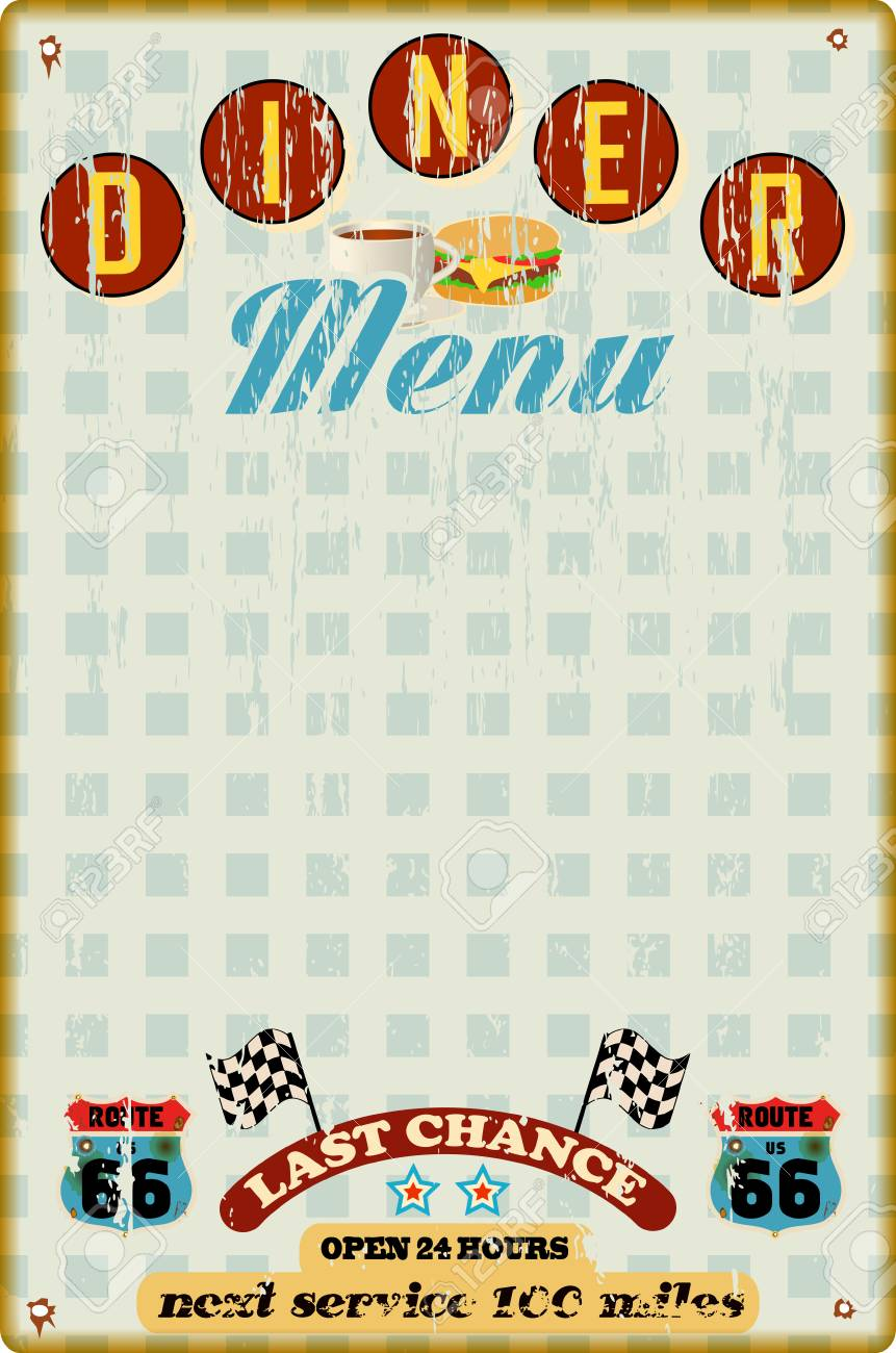 Menu Template For Diner Fast Food Restaurant Vintage Style Vector Stock