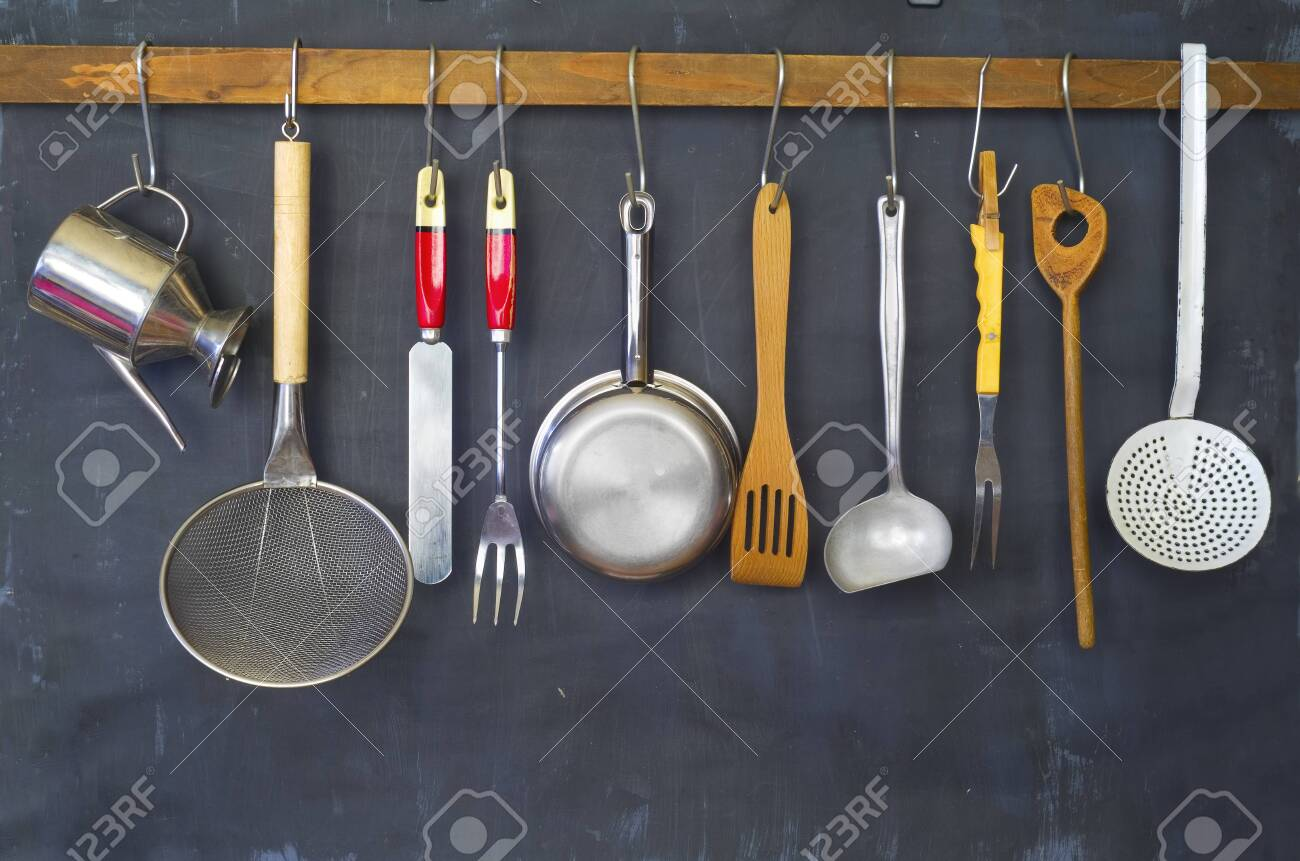 Kitchen Utensils For Commercial Kitchen Restaurant Cooking Stock Photo Picture And Royalty Free Image Image 112596888