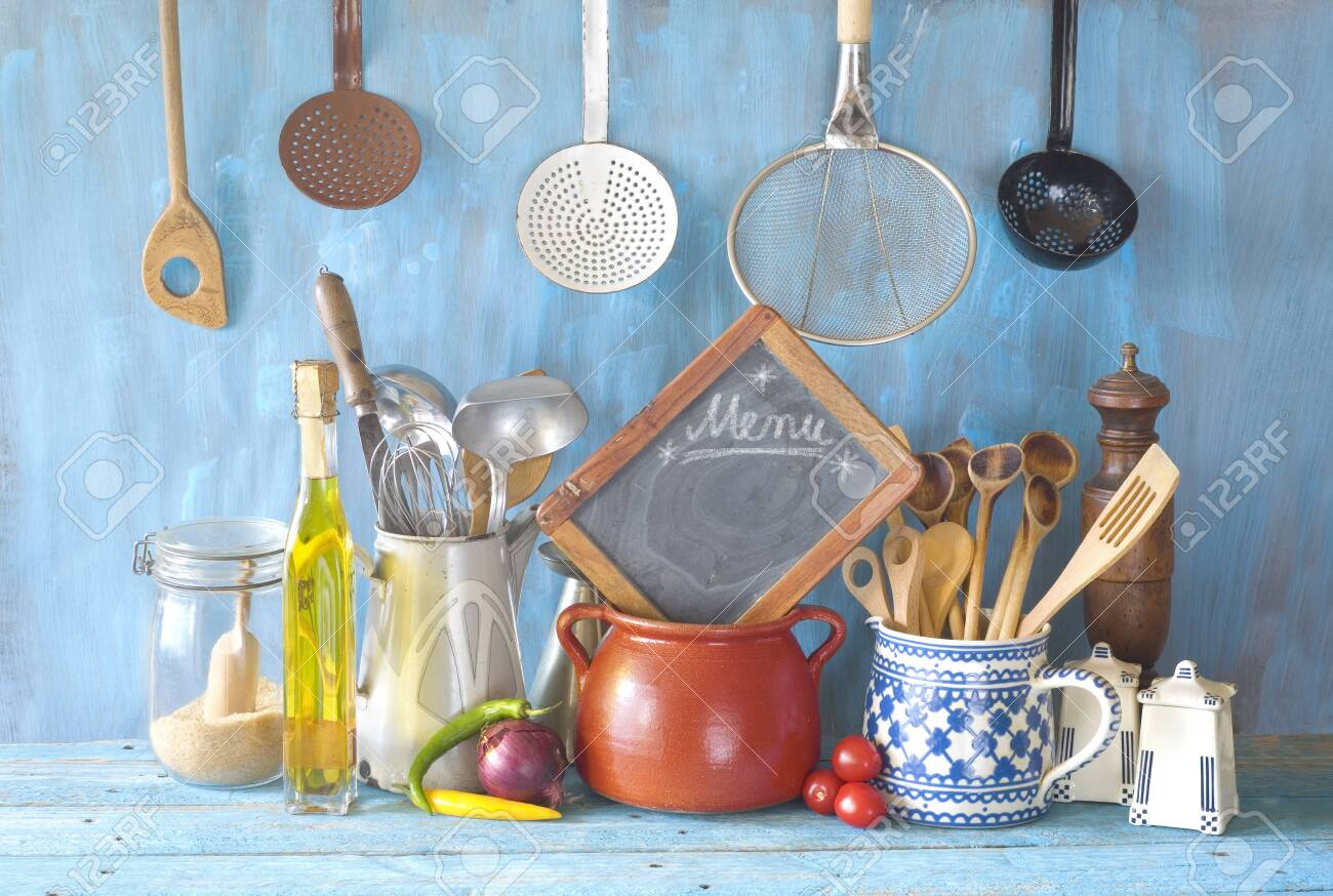 Cooking utensils and kitchen blackboard,food and drink,cooking,menu,restaurant concept. - 120696234