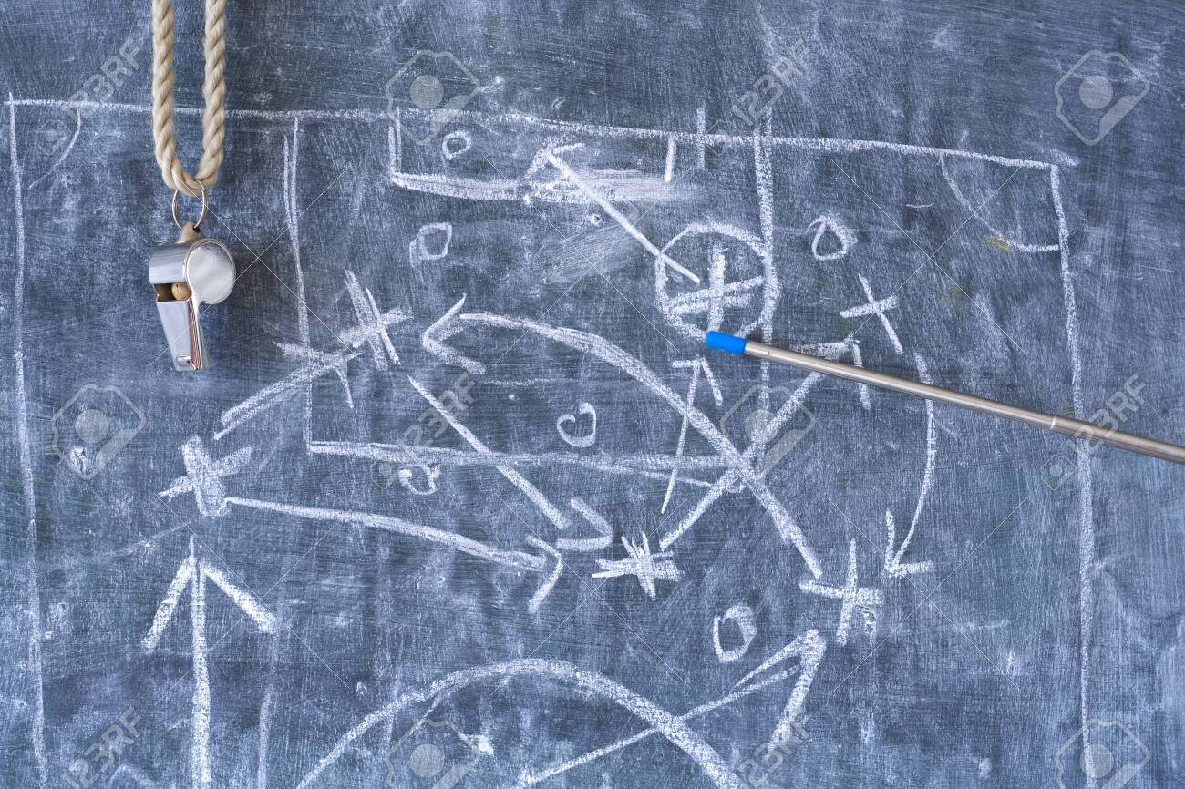 soccer or football tactics scribble with the trainers whistle and pointer on blackboard - 138909716