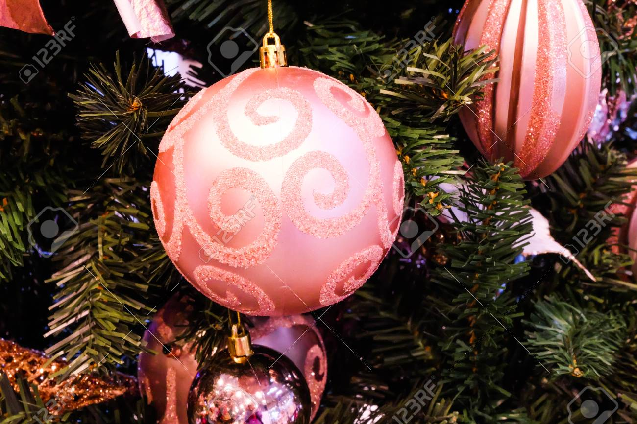 Christmas Tree Decoration Bright Pink Balss Christmas Day Stock Photo Picture And Royalty Free Image Image 114408316