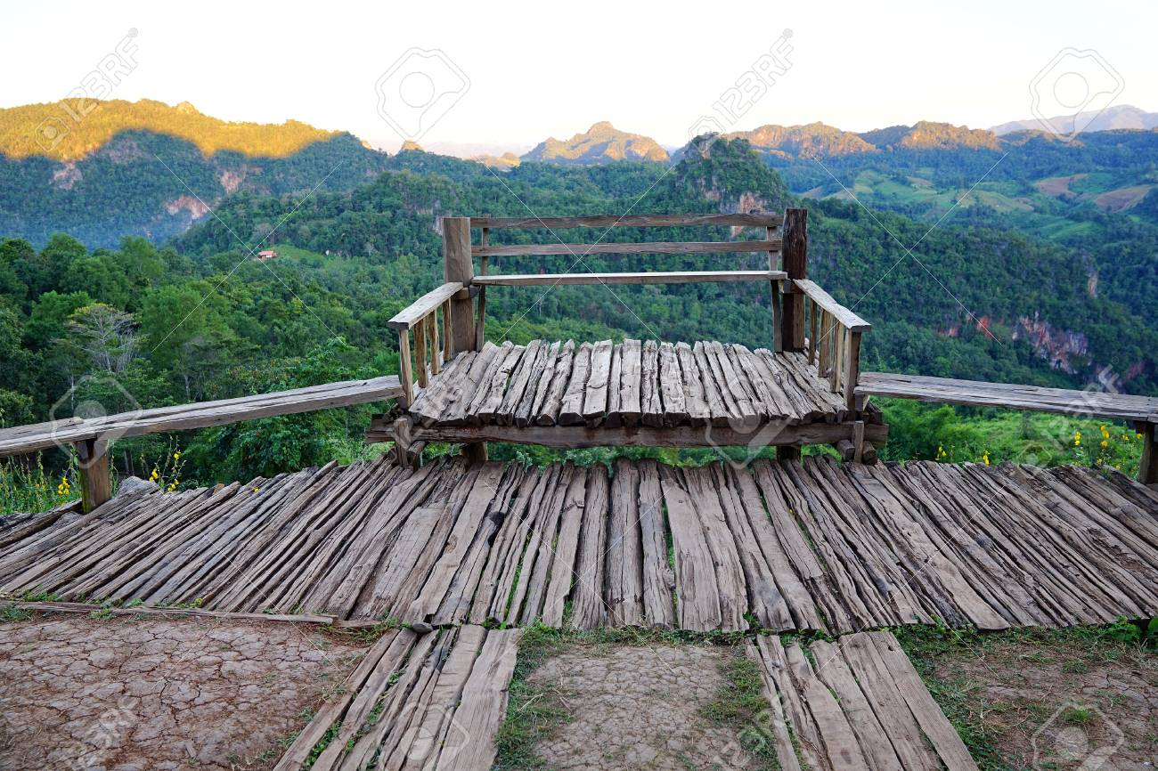 Old Wood Balcony Terrace With Mountain View At Baan Ja Bo Mae