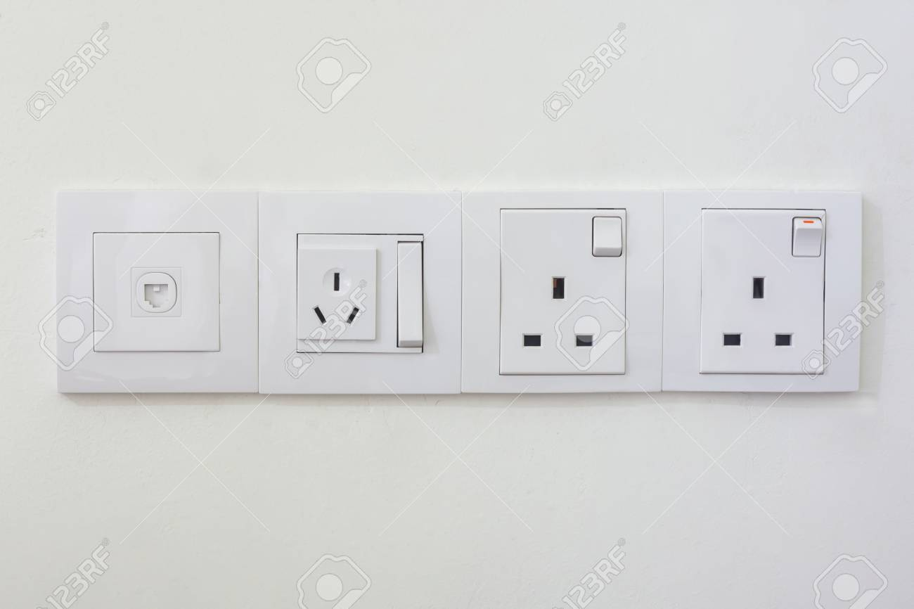 Electrical Outlets And Light Switches In Rooms Malaysia. Stock Photo ...