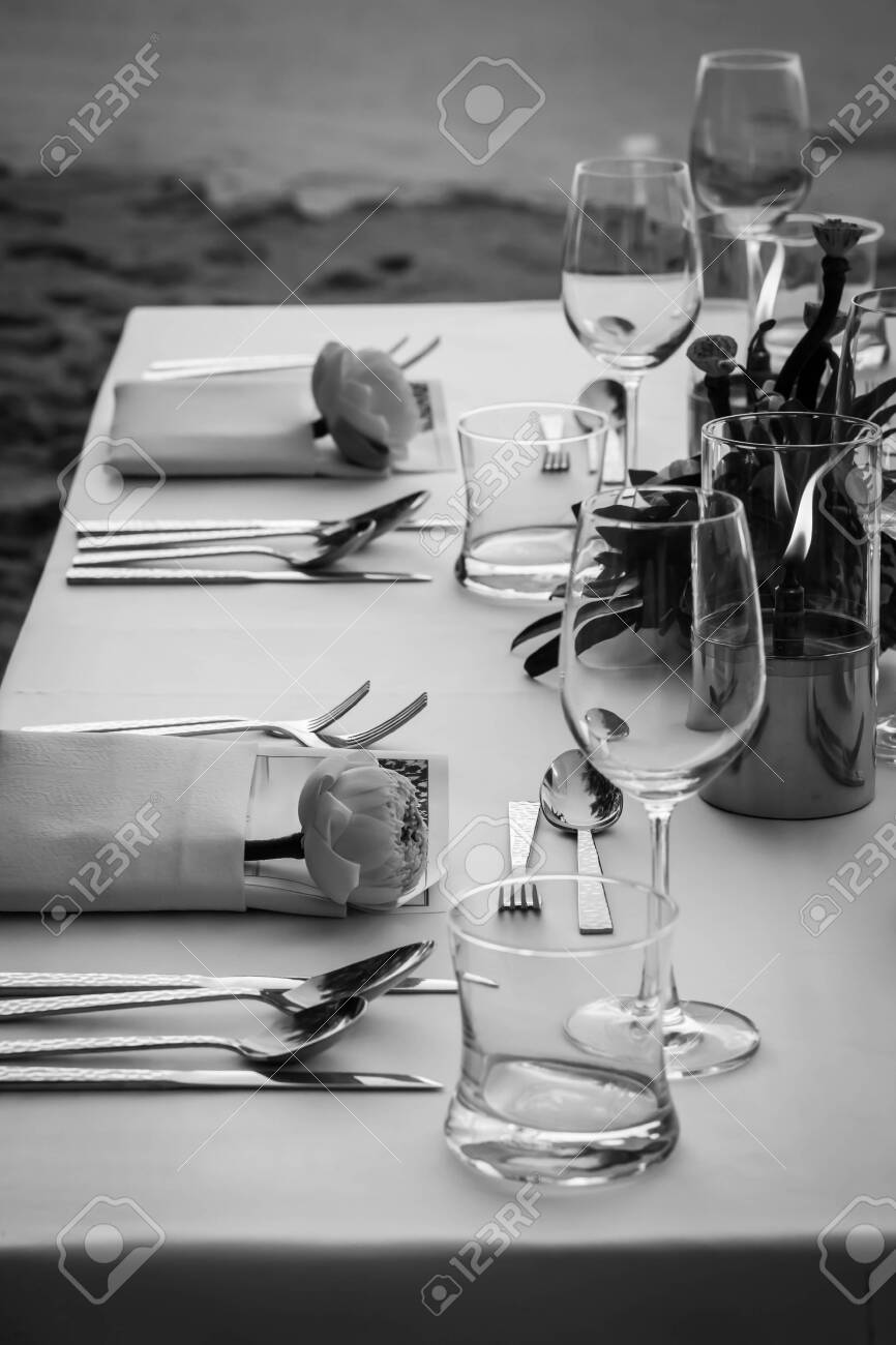 Dinner Table On The Beach At Thailand Black And White Stock Photo Picture And Royalty Free Image Image 125210485