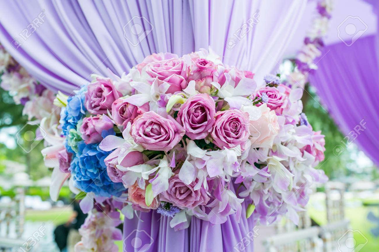 Floral arrangement at a wedding ceremony in Thailand. - 158380308