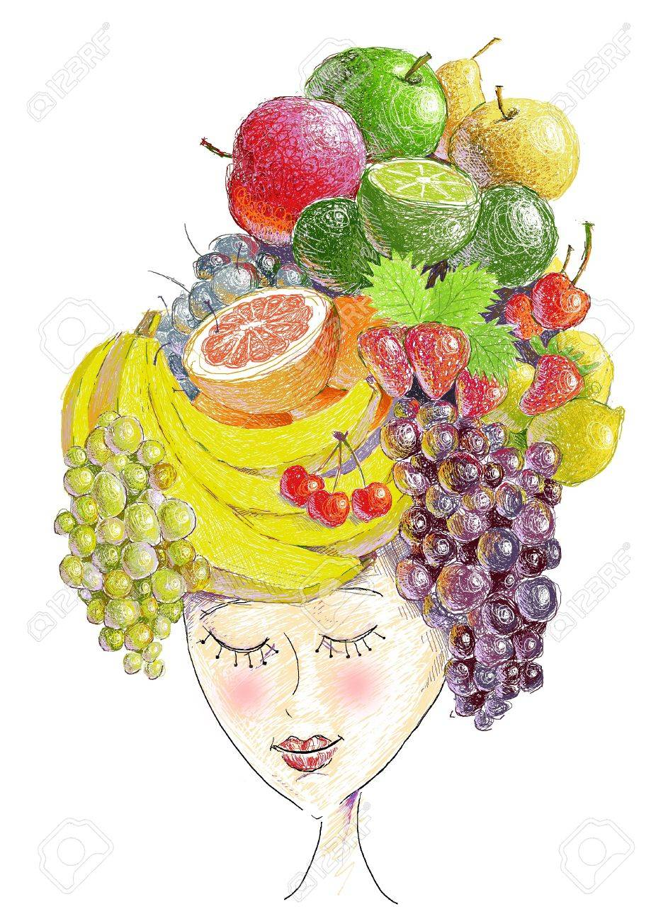 cute girl and colorful fruits Stock Photo - 15303919