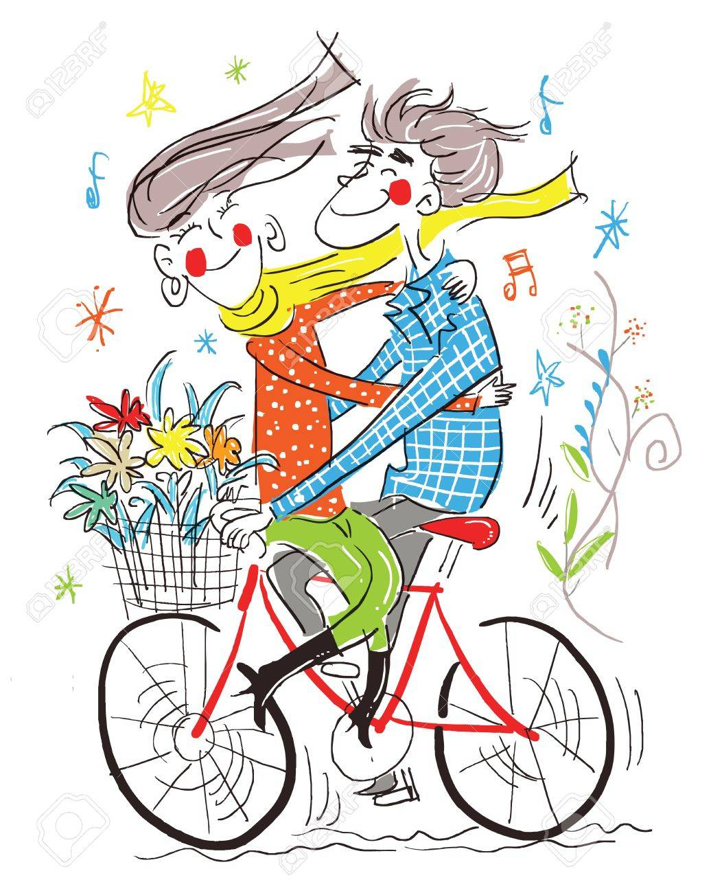 The boy and gile on the bicycle Stock Vector - 16418598