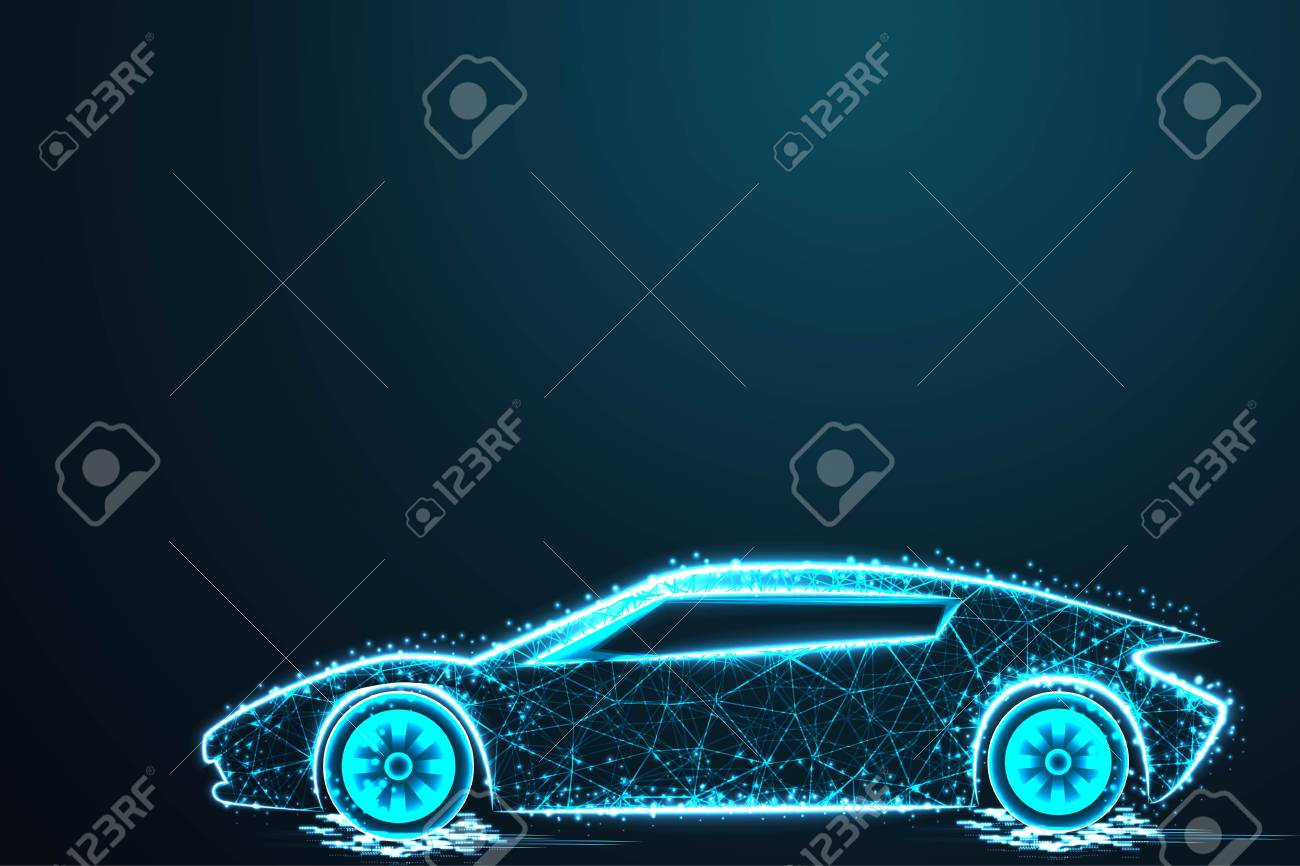 Sport Car Wire Model With Blue Neon On Dark Background With