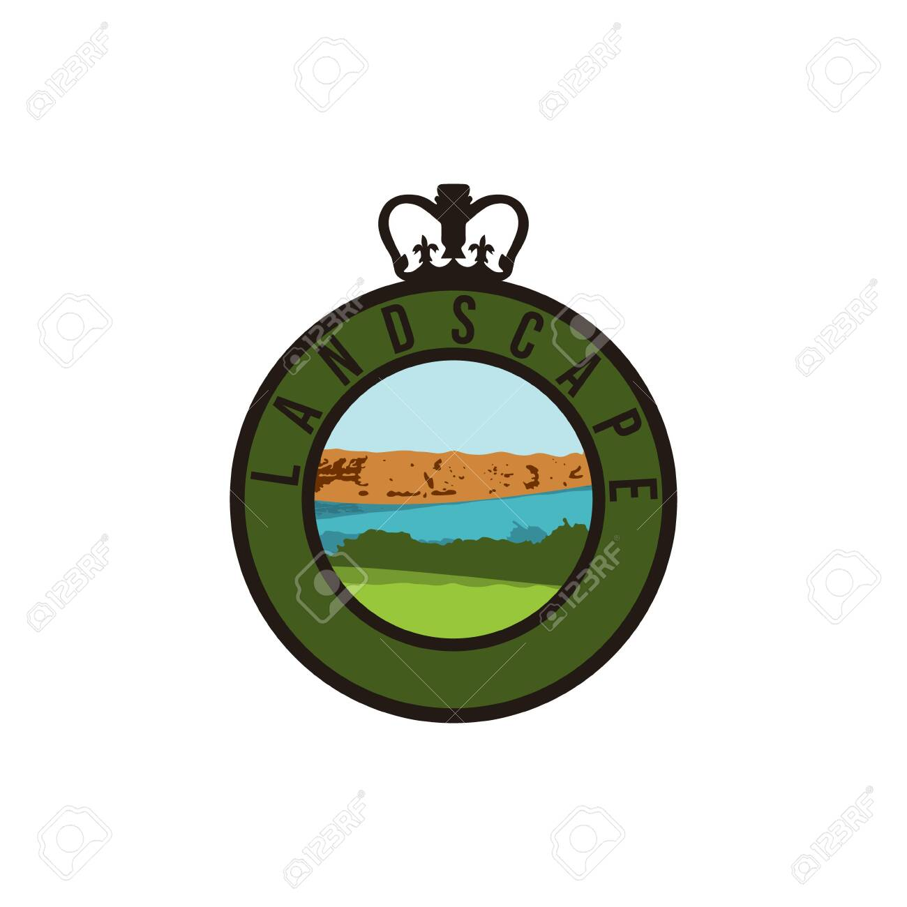 Landscape Mountain Peek River Grass Farm Logo Ideas
