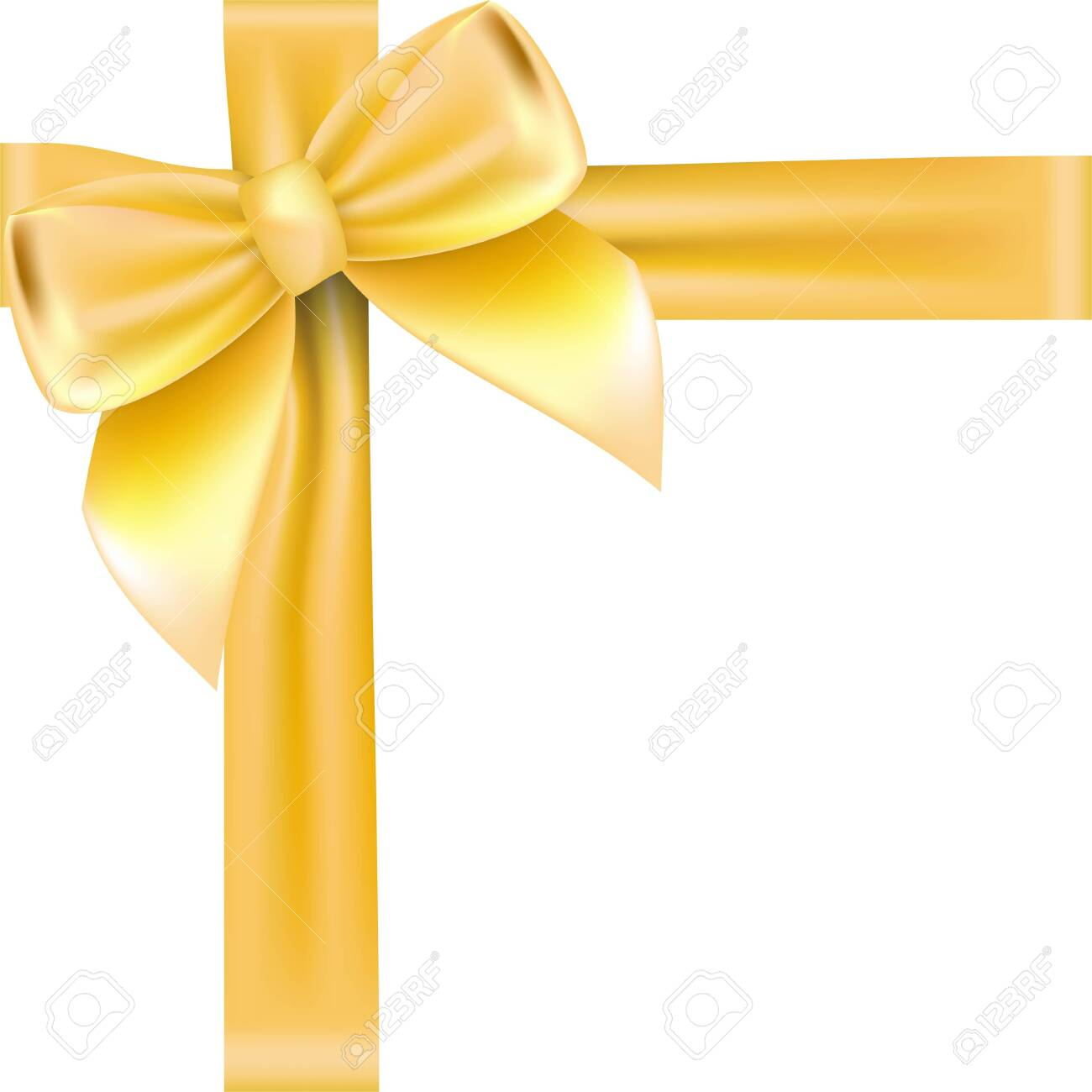 Shiny golden satin ribbon . Vector isolate gold bow for design greeting and discount card. isolated on white background - 142217799