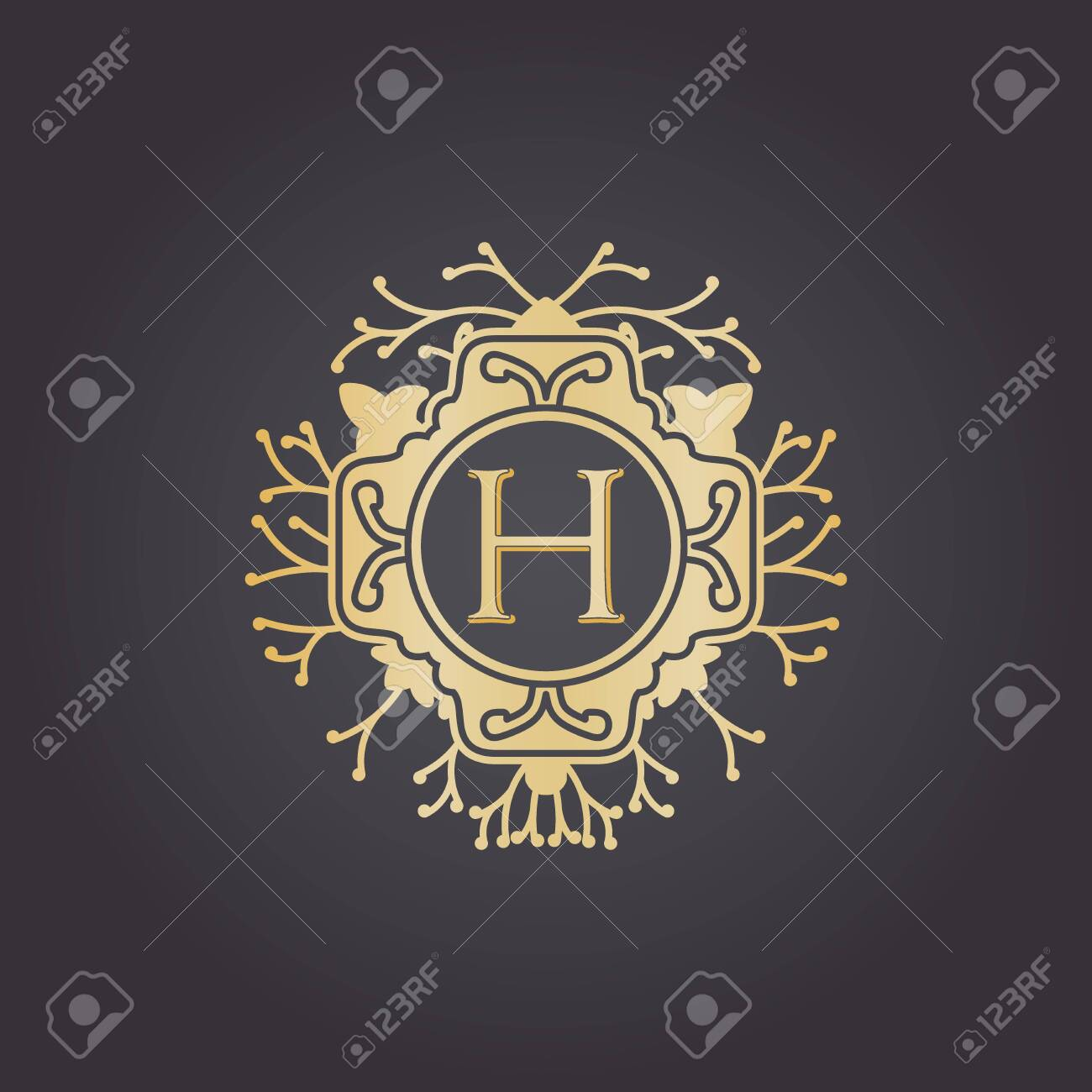Initial Letter h, Luxury Logo for boutique, cosmetic, or jewelery logo design. Vector Illustration - 144487950