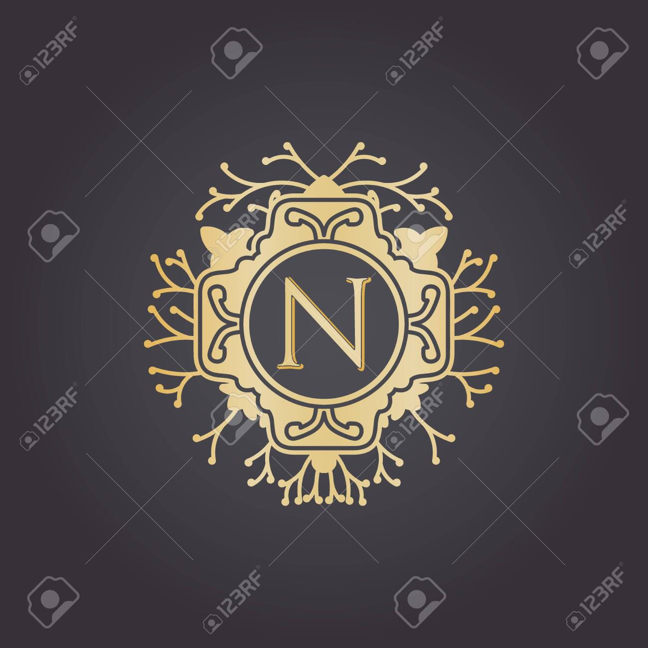 Initial Letter n, Luxury Logo for boutique, cosmetic, or jewelery logo design. Vector Illustration - 144490115